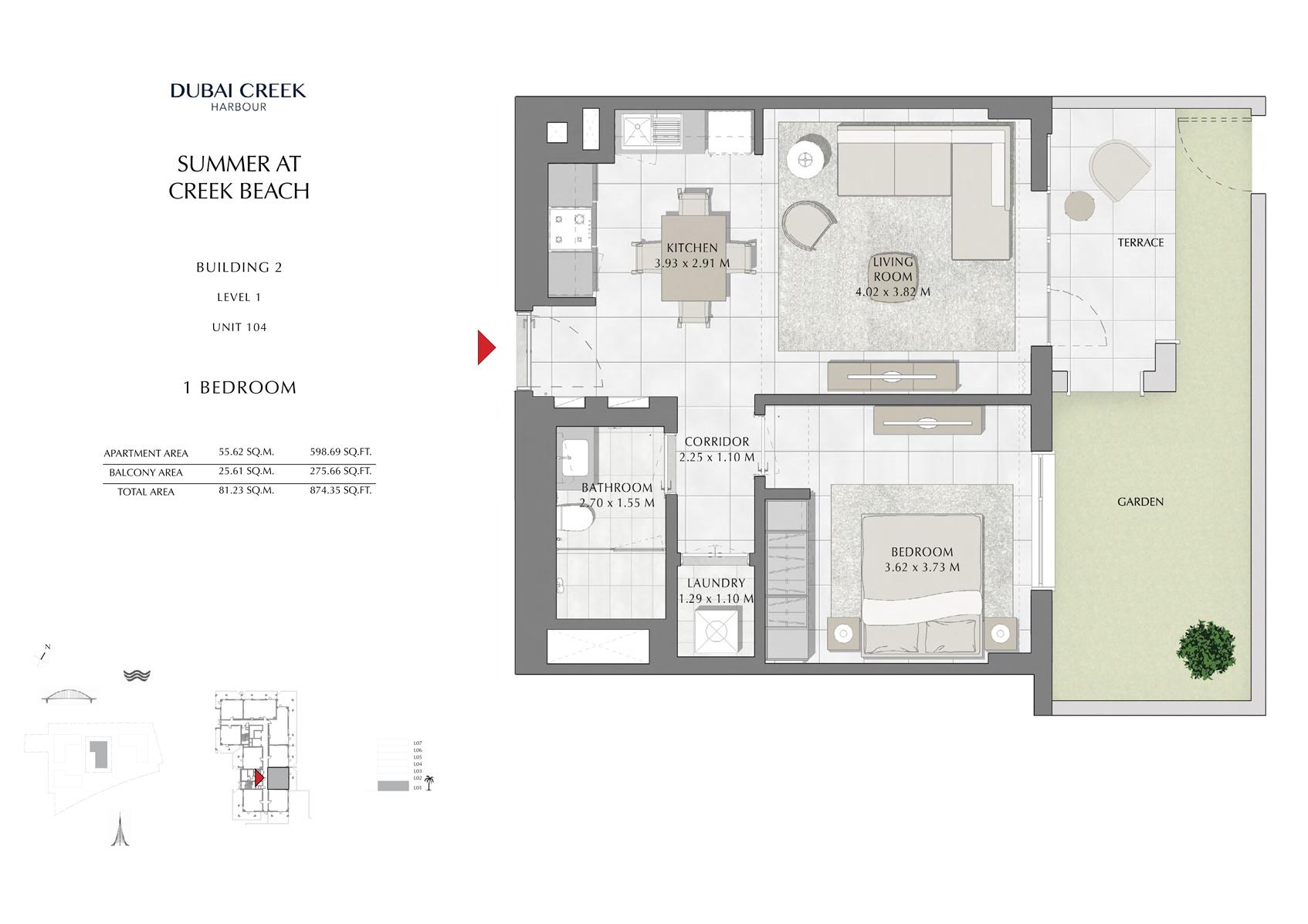 1 Br Building 2 Level 1 Unit 104, Size 874 Sq Ft