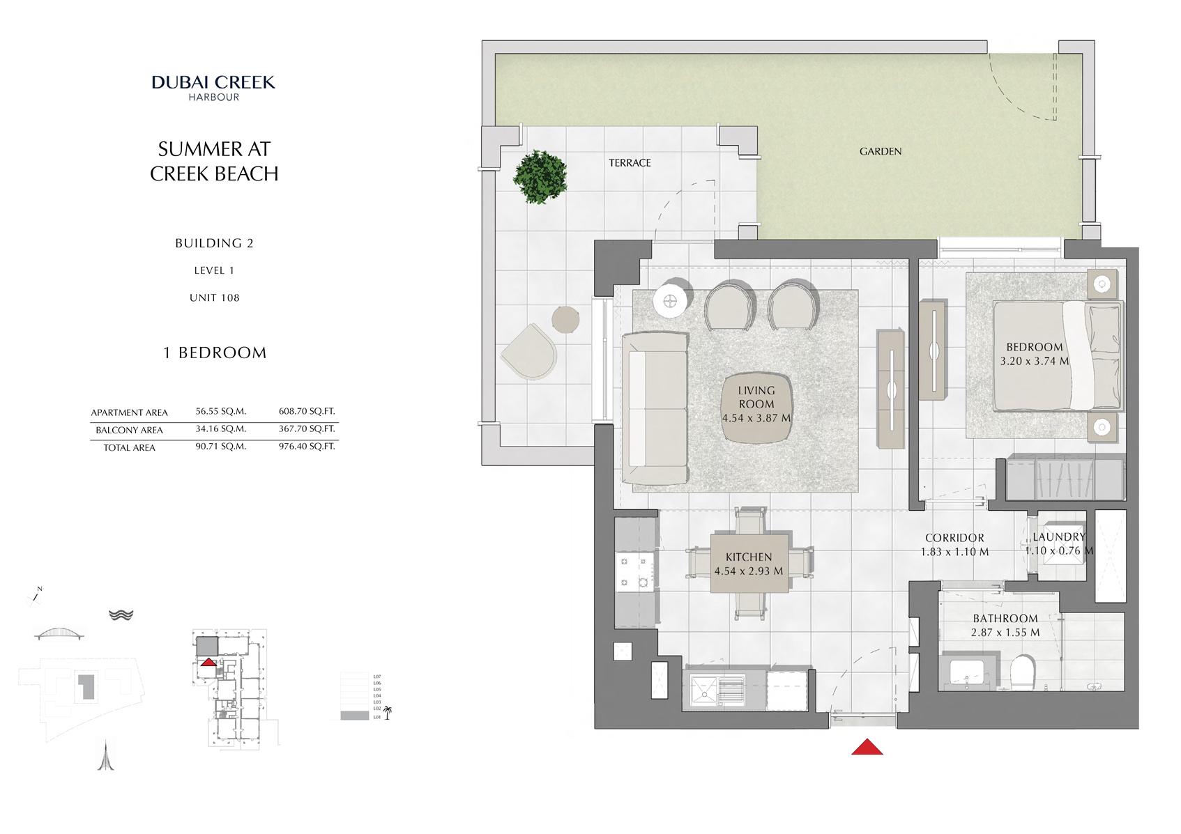 1 Br Building 2 Level 1 Unit 108, Size 976 Sq Ft