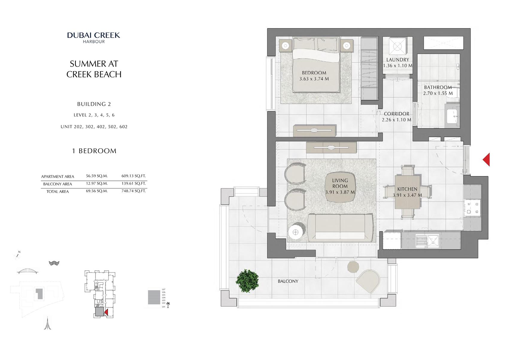 1 Br building 2 Level-2-3-4-5-6 Unit-202-302-402-502-602, Size 748 Sq Ft