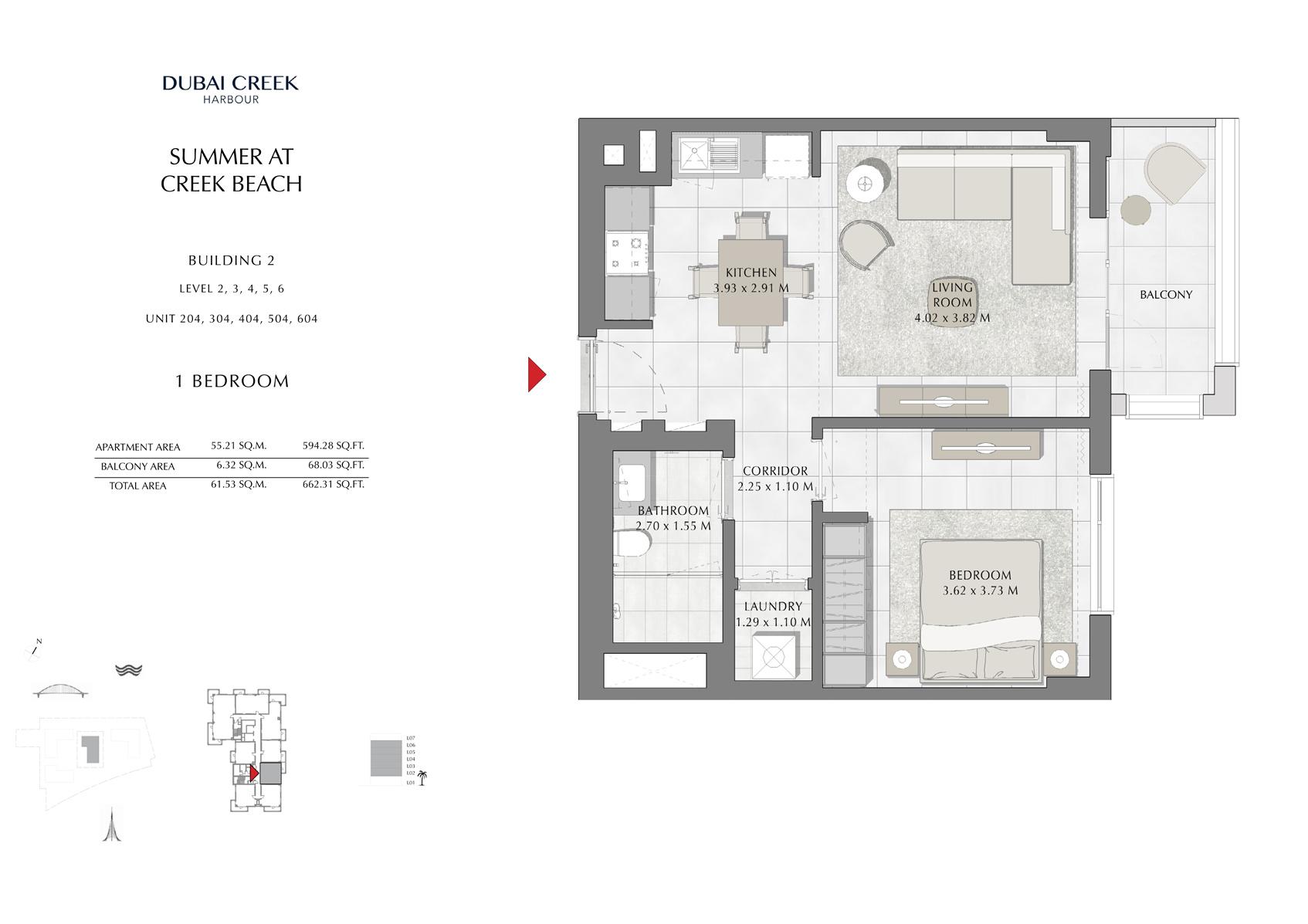 1 Br Building 2 Level-2-3-4-5-6 Unit-204-304-404-504-604, Size 662 Sq Ft