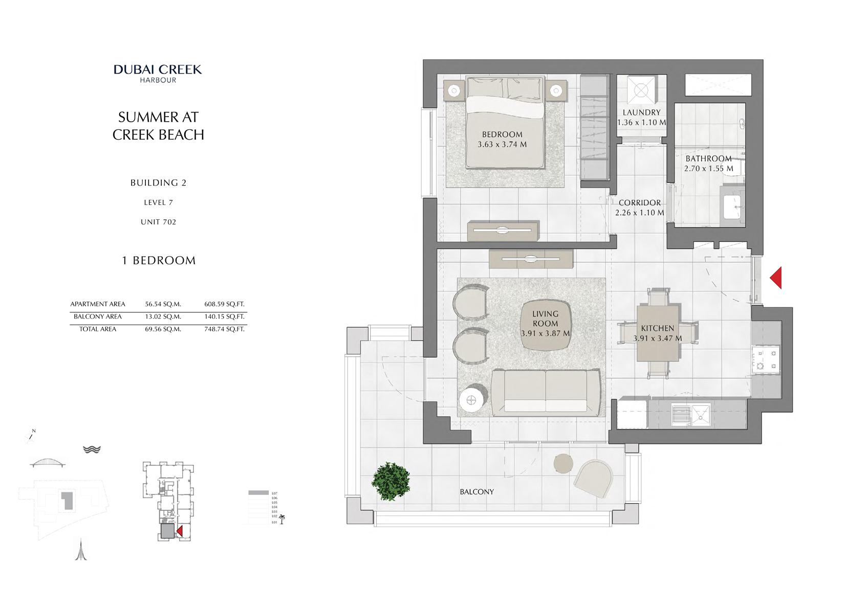 1 Br Building 2 Level 7 Unit 702, Size 748 Sq Ft