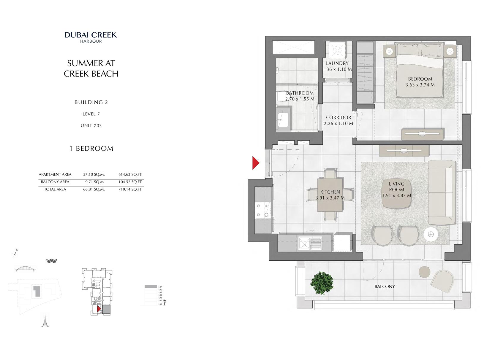 1 Br Building 2 Level 7 Unit 703, Size 719 Sq Ft