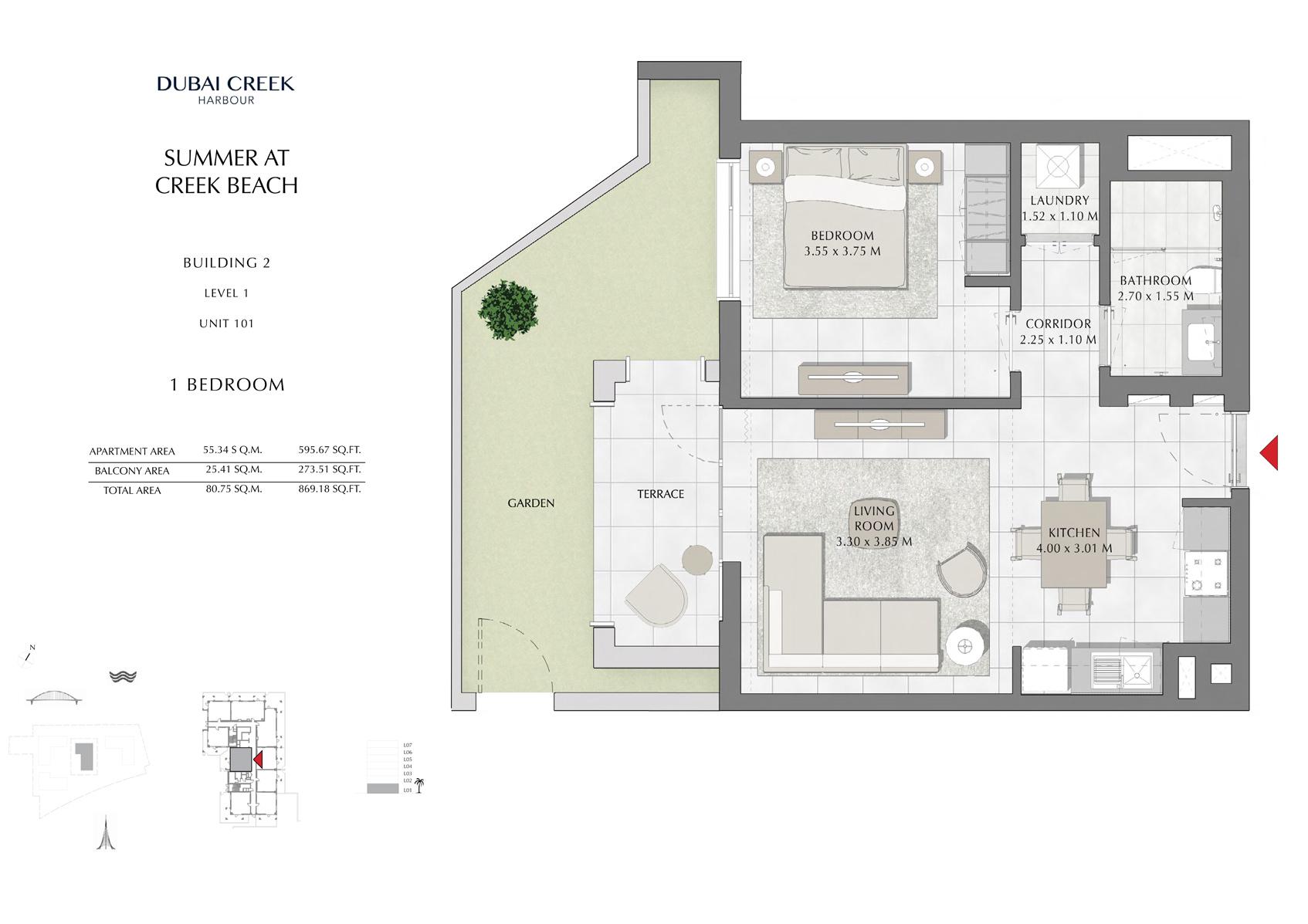 1 Br Building 2 Level 101 unit 1, Size 869 Sq Ft