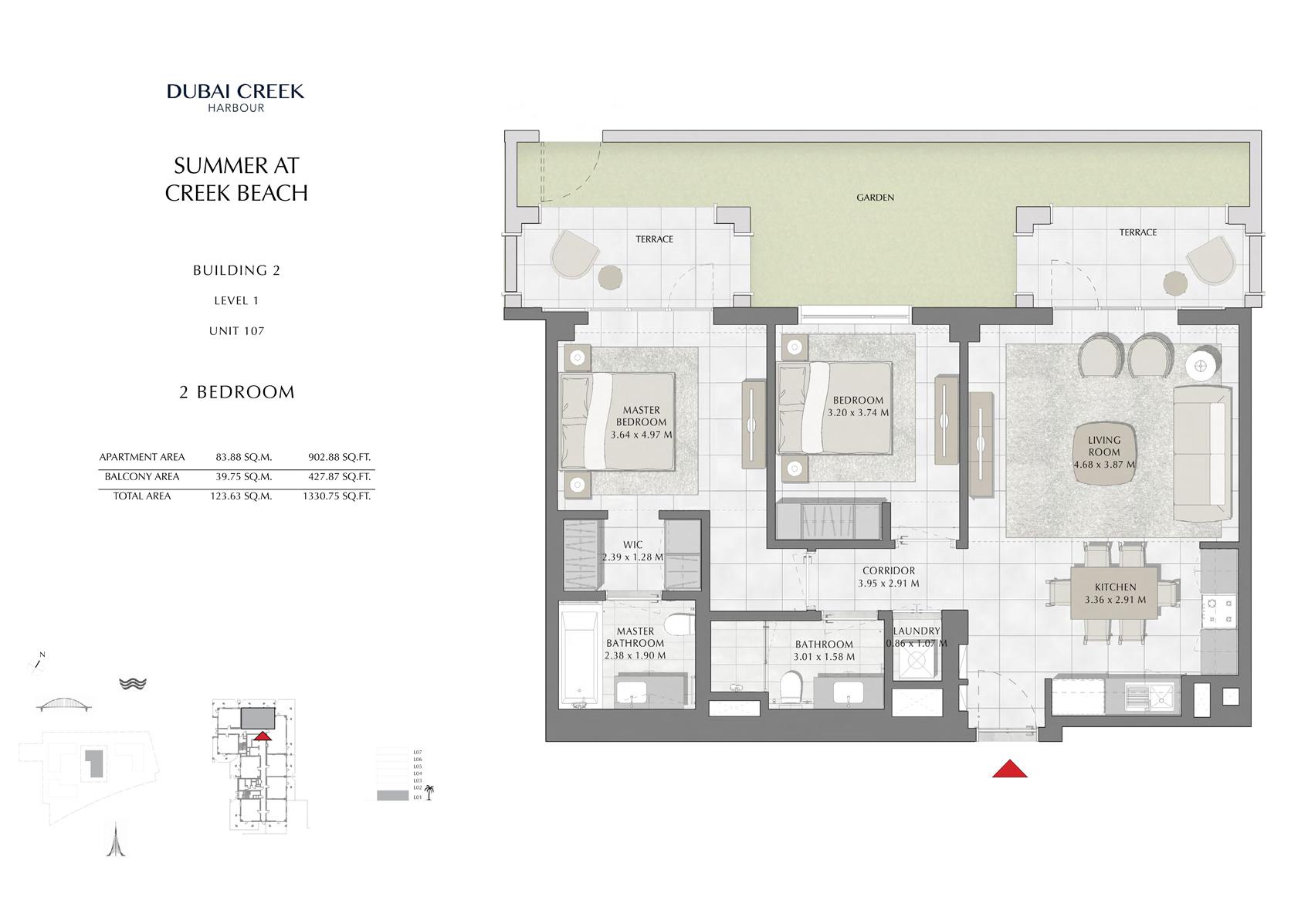 2 Br Building 2 Level 1 Unit 107, Size 1330 Sq Ft