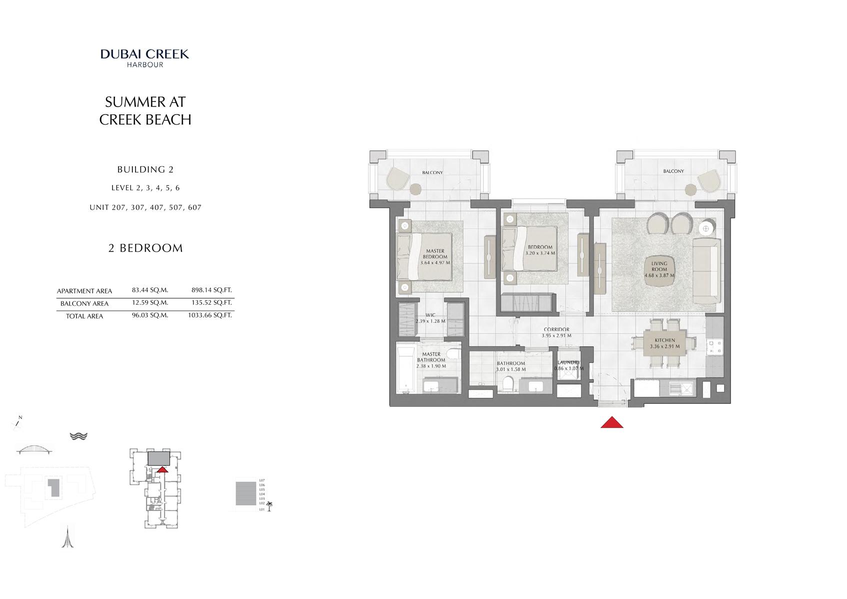 2 Br Building 2 Level-2-3-4-5-6 Unit-207-307-407-507-607, Size 1033 Sq Ft
