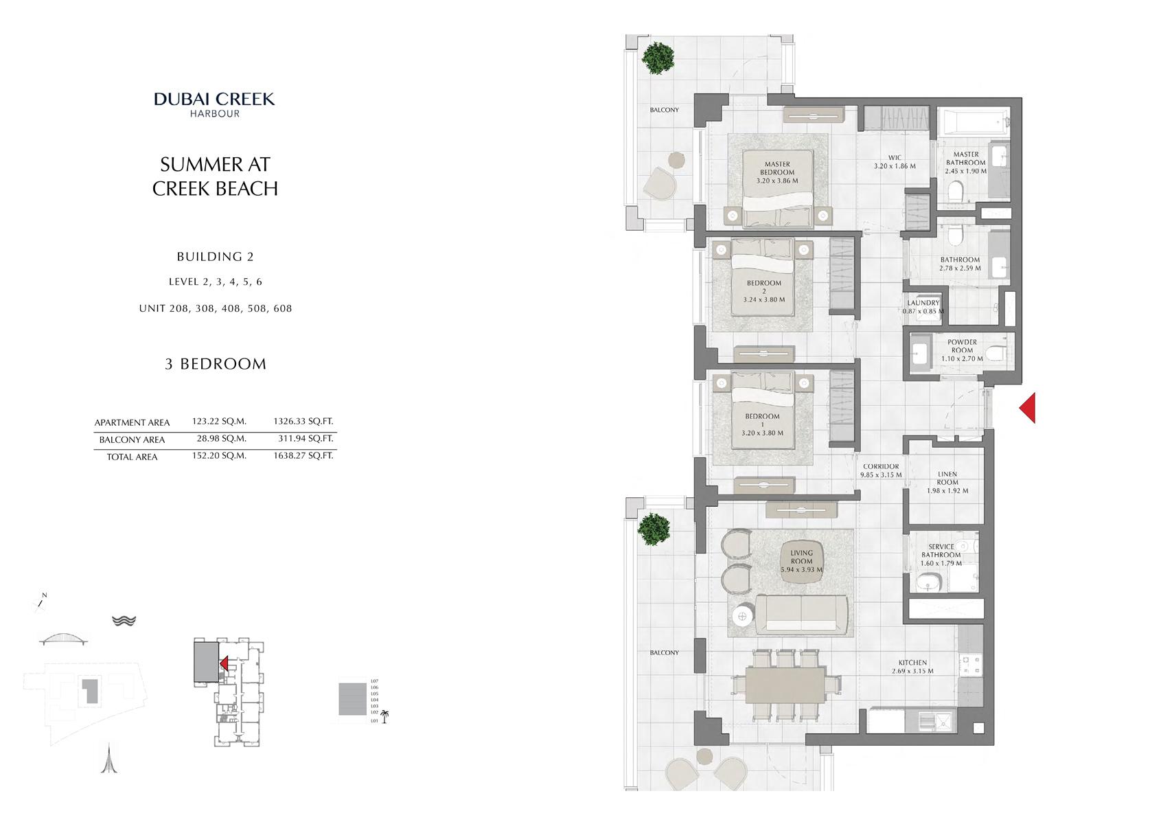 3 Br Building 2 Level-2-3-4-5-6 Unit-208-308-408-508-608, Size 1638 Sq Ft