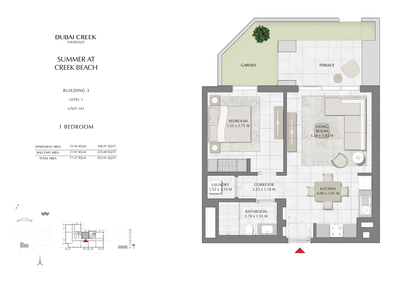 1 Br Building 3 Level 1 Unit 101, Size 832 Sq Ft