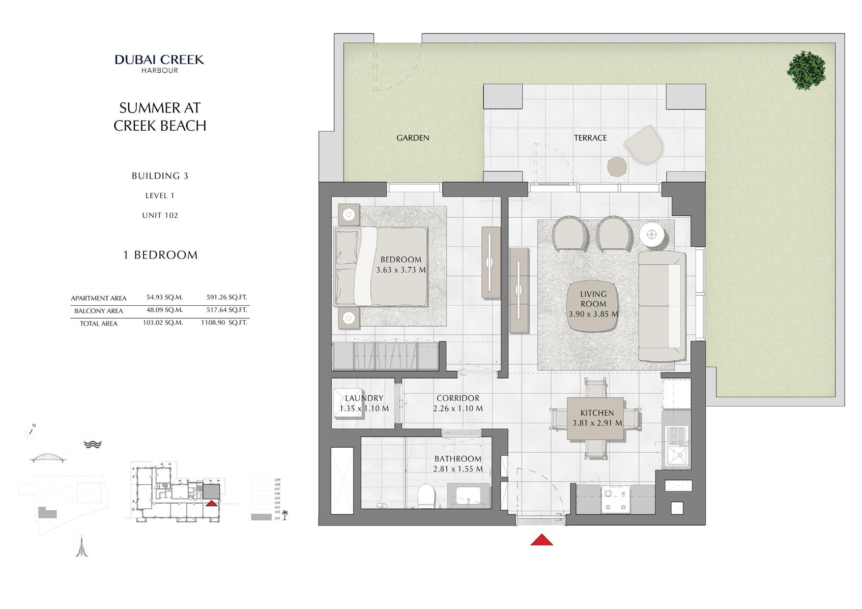 1 Br Building 3 Level 1 Unit 102, Size 1108 Sq Ft