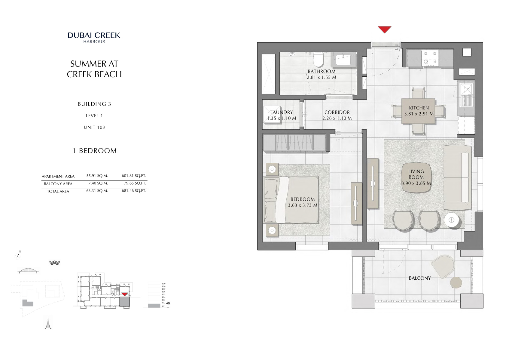 1 Br Building 3 Level 1 Unit 103, Size 681 Sq Ft