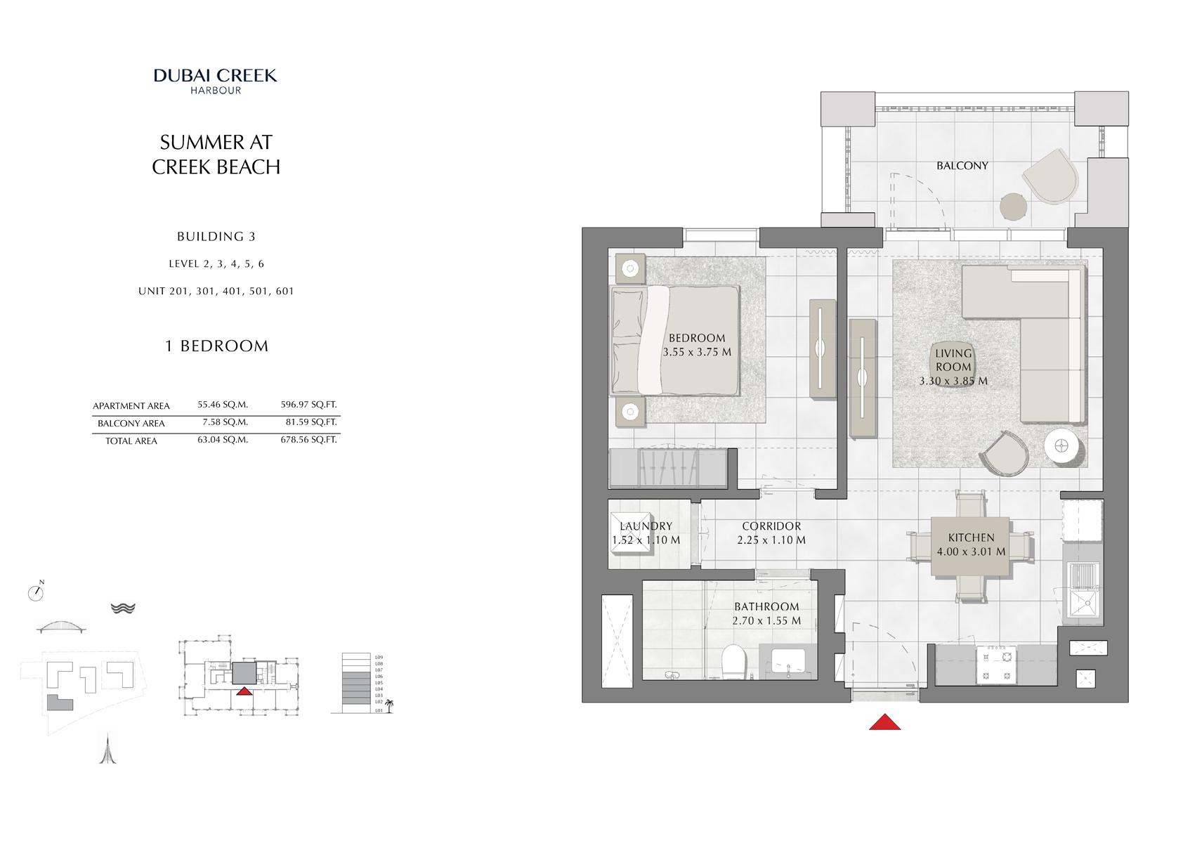 1 Br Building 3 Level-2-3-4-5-6 Unit-201-301-401-501-601, Size 678 Sq Ft