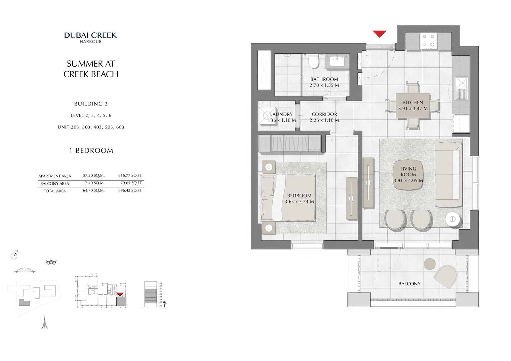 1 Br Building 3 Level-2-3-4-5-6 Unit-203-303-403-503-603, Size 696 Sq Ft