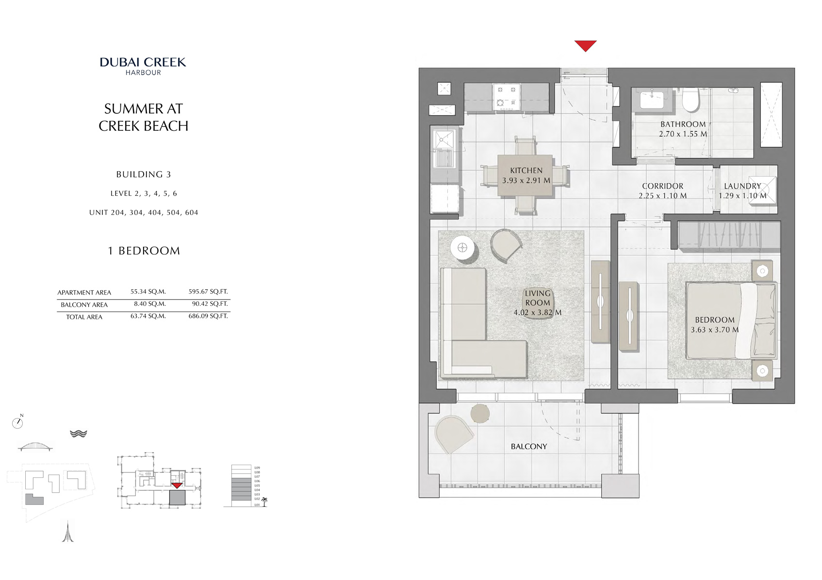 1 Br Building 3 Level-2-3-4-5-6 Unit-204-304-404-504-604, Size 686 Sq Ft