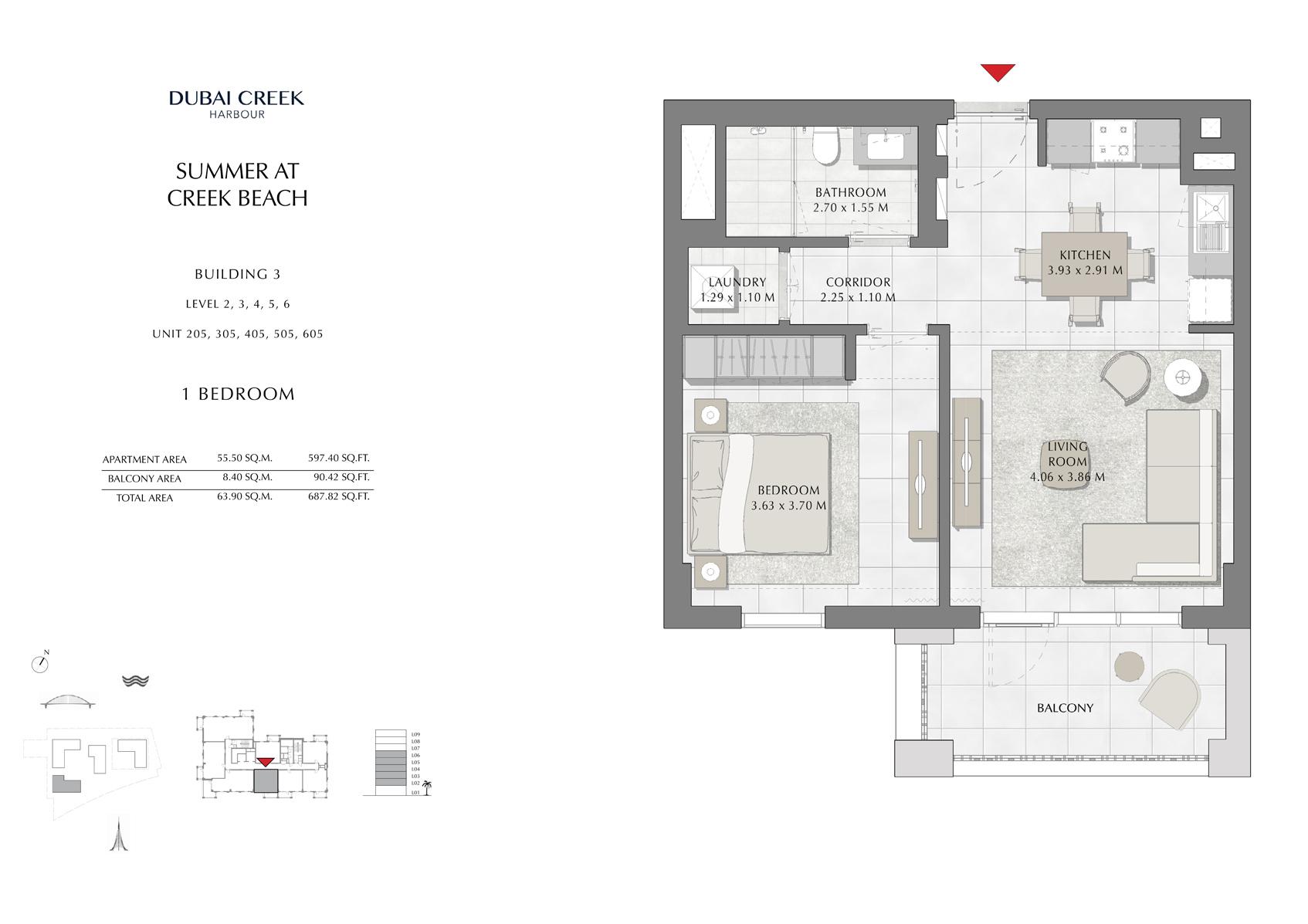 1 Br Building 3 Level-2-3-4-5-6 Unit-205-305-405-505-605, Size 687 Sq Ft