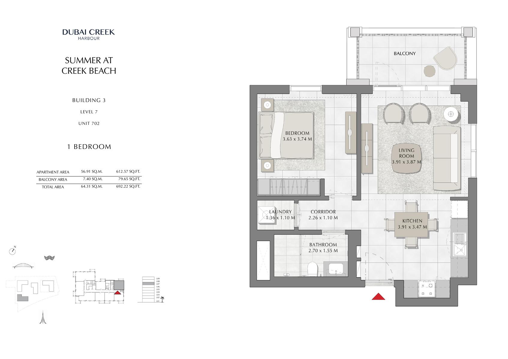 1 Br Building 3 Level 7 Unit 702, Size 692 Sq Ft