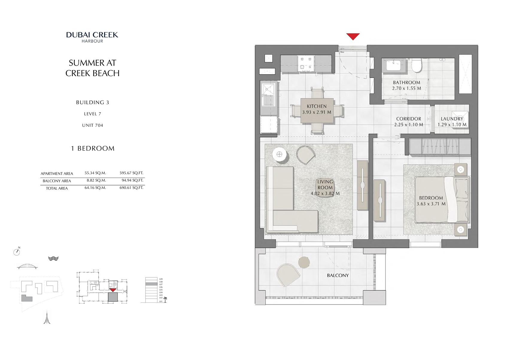 1 Br Building 3 Level 7 Unit 704, Size 690 Sq Ft