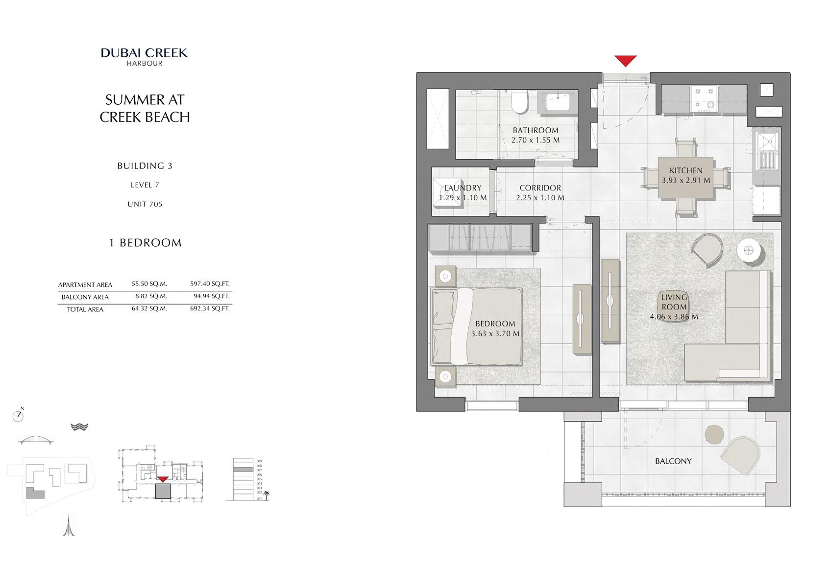 1 Br building 3 Level 7 Unit 705, Size 692 Sq Ft