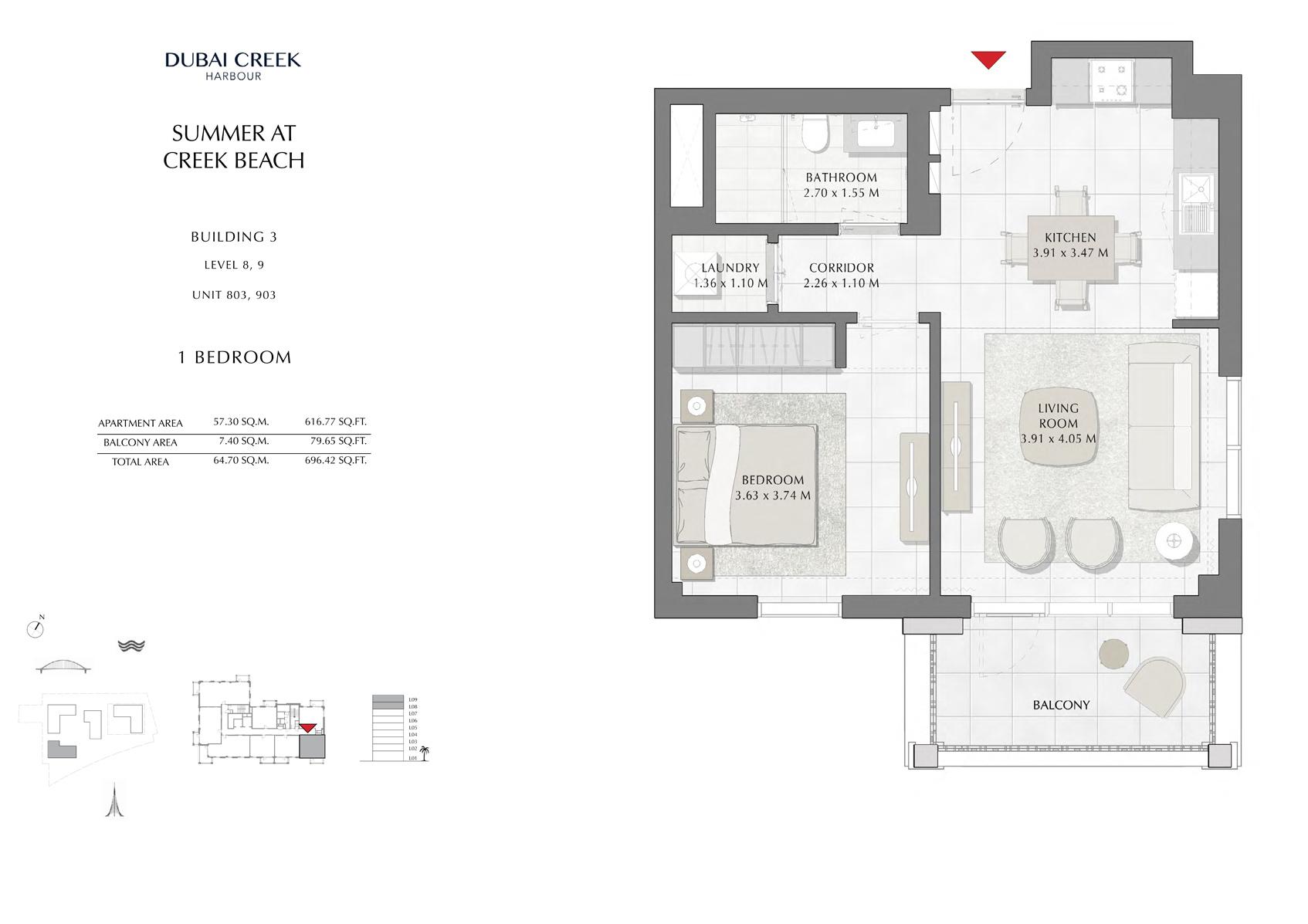 1 Br Building 3 Level-8-9 Unit 803-903, Size 696 Sq Ft