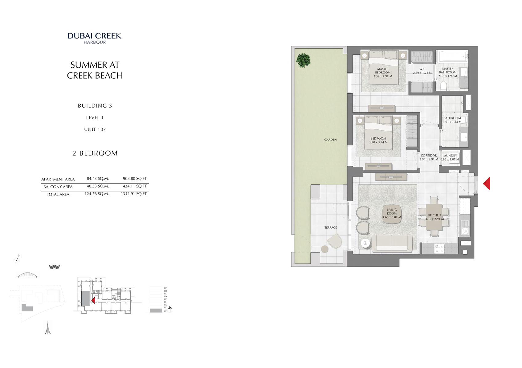2 Br Building 3 Level 1 Unit 107, Size 1342 Sq Ft