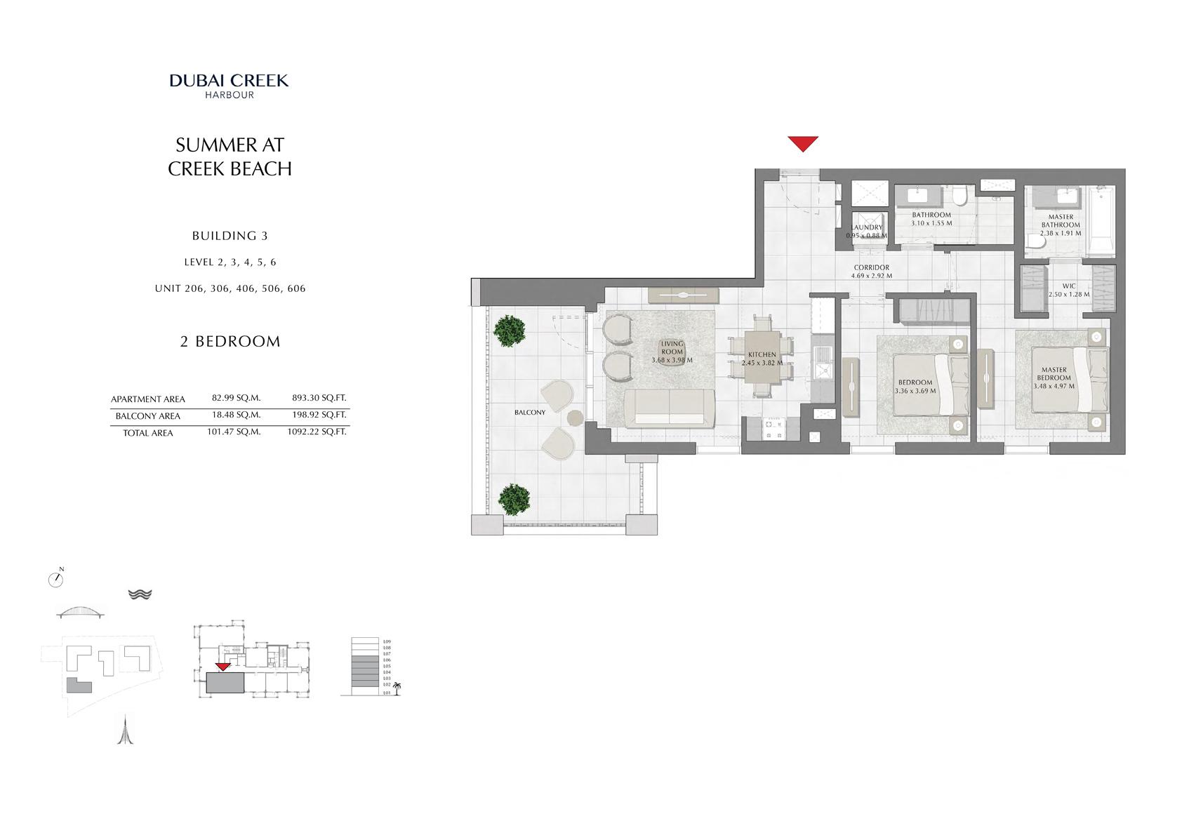 2 Br Building 3 Level-2-3-4-5-6 Unit-206-306-406-506-606, Size 1092 Sq Ft
