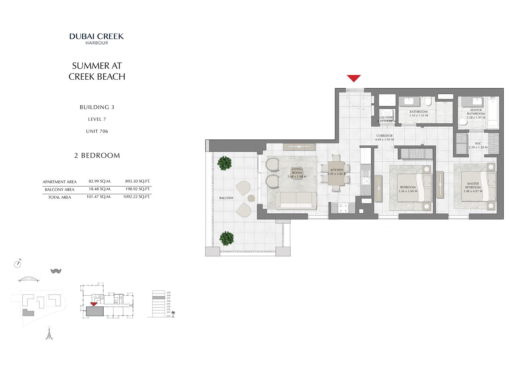 2 Br Building 3 Level 7 Unit 706, Size 1092 Sq Ft