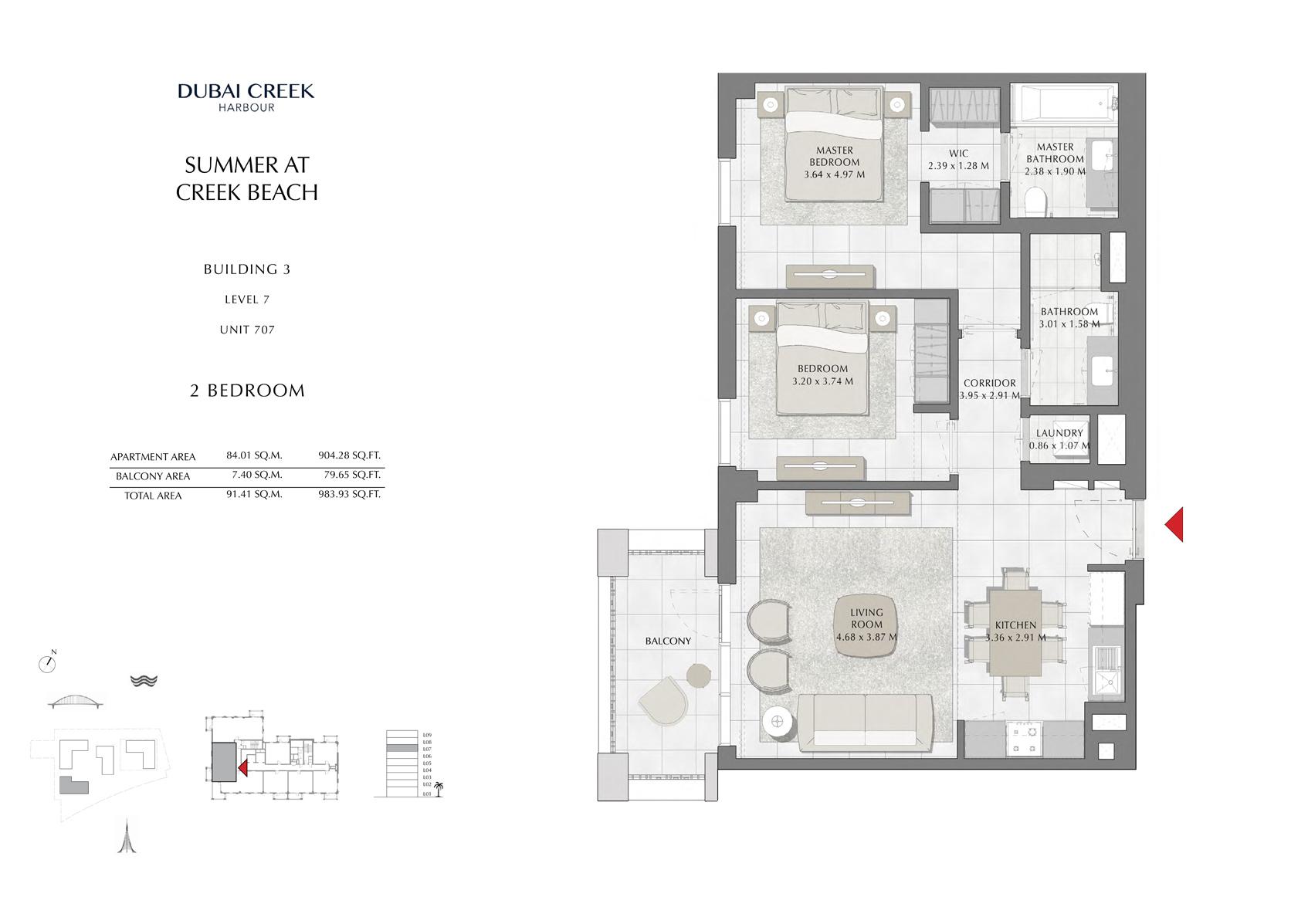 2 Br Building 3 Level 7 Unit 707, Size 983 Sq Ft