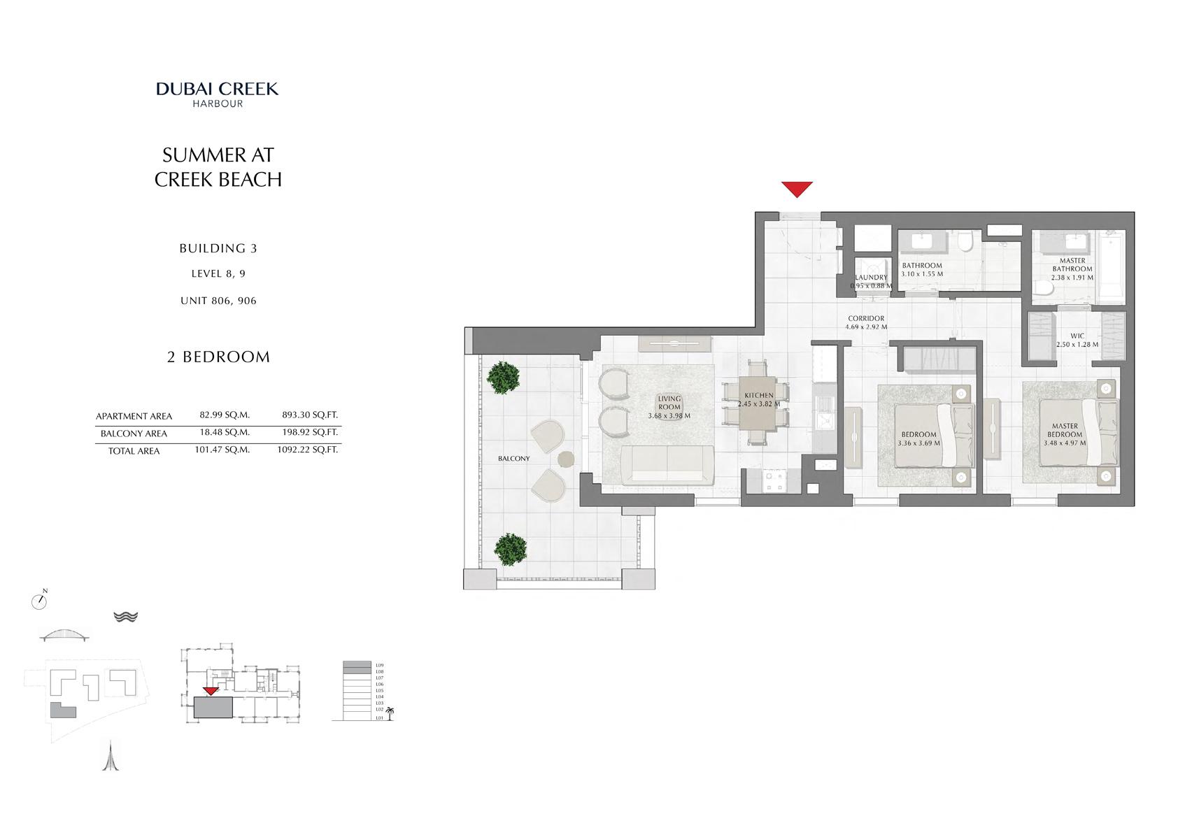 2 Br Building 3 Level-8-9 Unit 806-906, Size 1092 Sq Ft