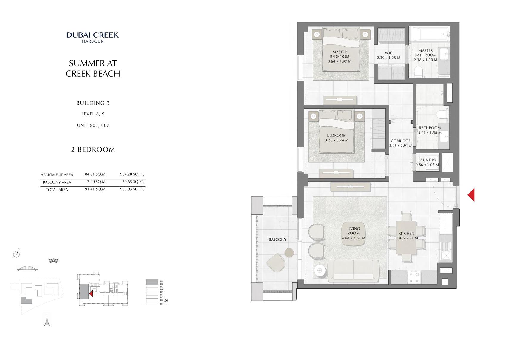 2 Br Building 3 Level-8-9 Unit 807-907, Size 983 Sq Ft