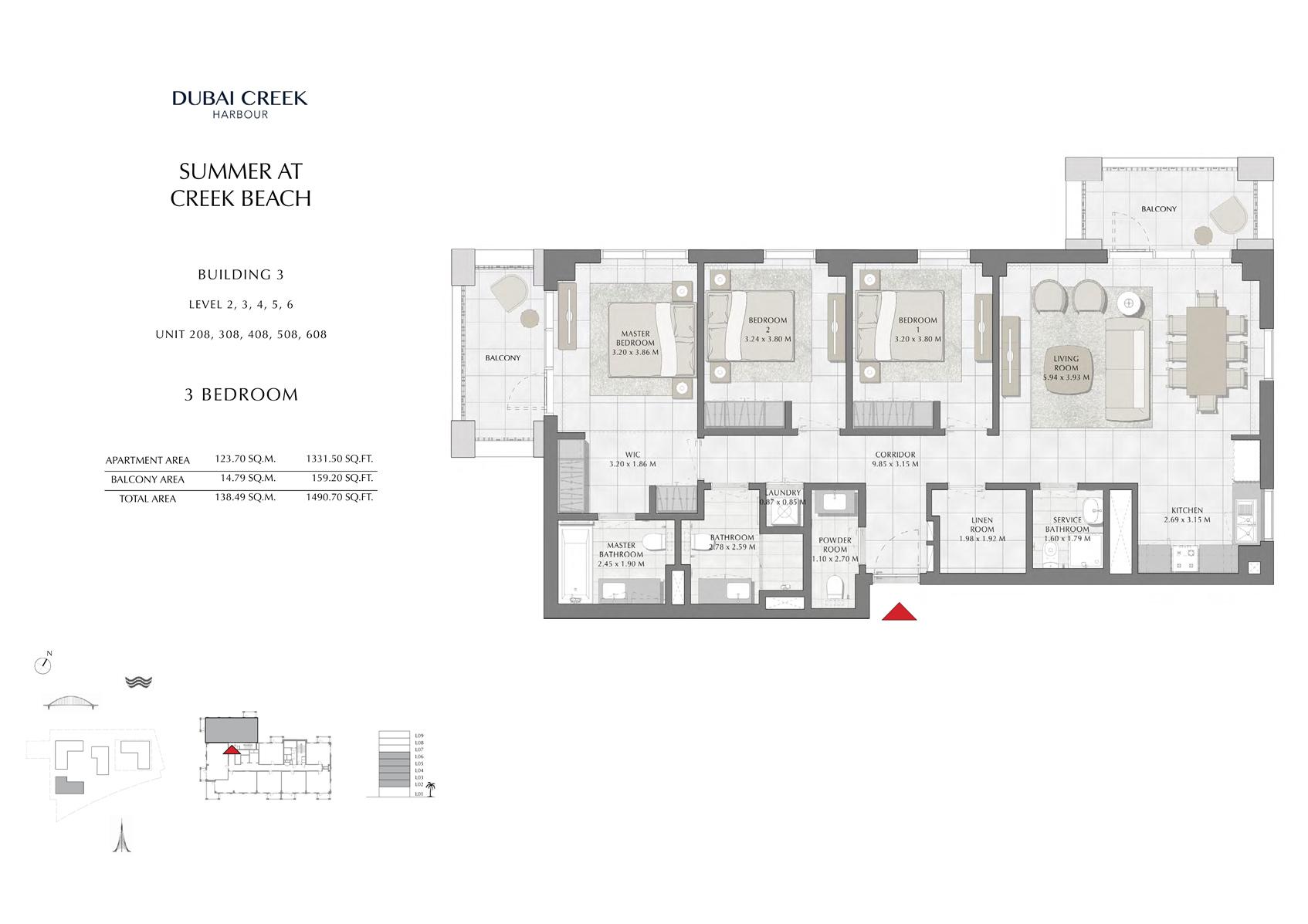 3 Br Building 3 Level-2-3-4-5-6 Unit-208-308-408-508-608, Size 1490 Sq Ft