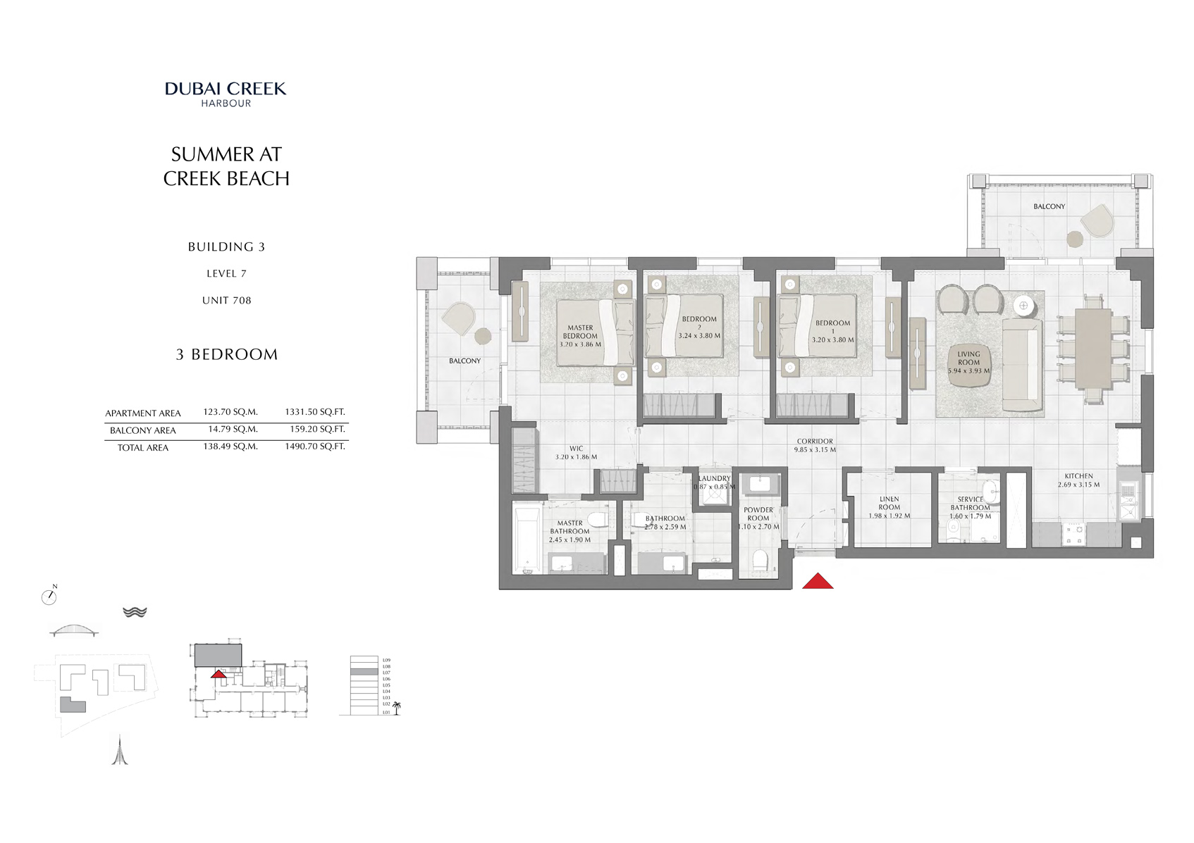3 Br Building 3 Level 7 Unit 708, Size 1490 Sq Ft