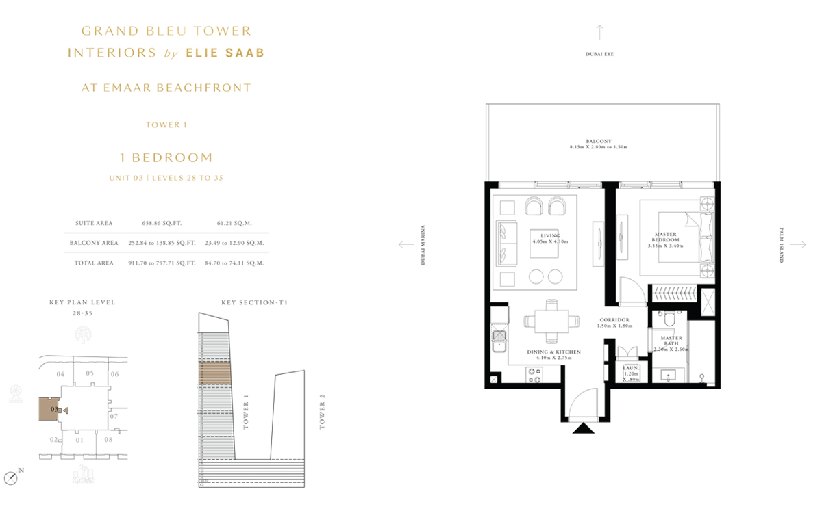 1 Bedroom Unit 3, Level 28 to 35, Size 911 Sq Ft