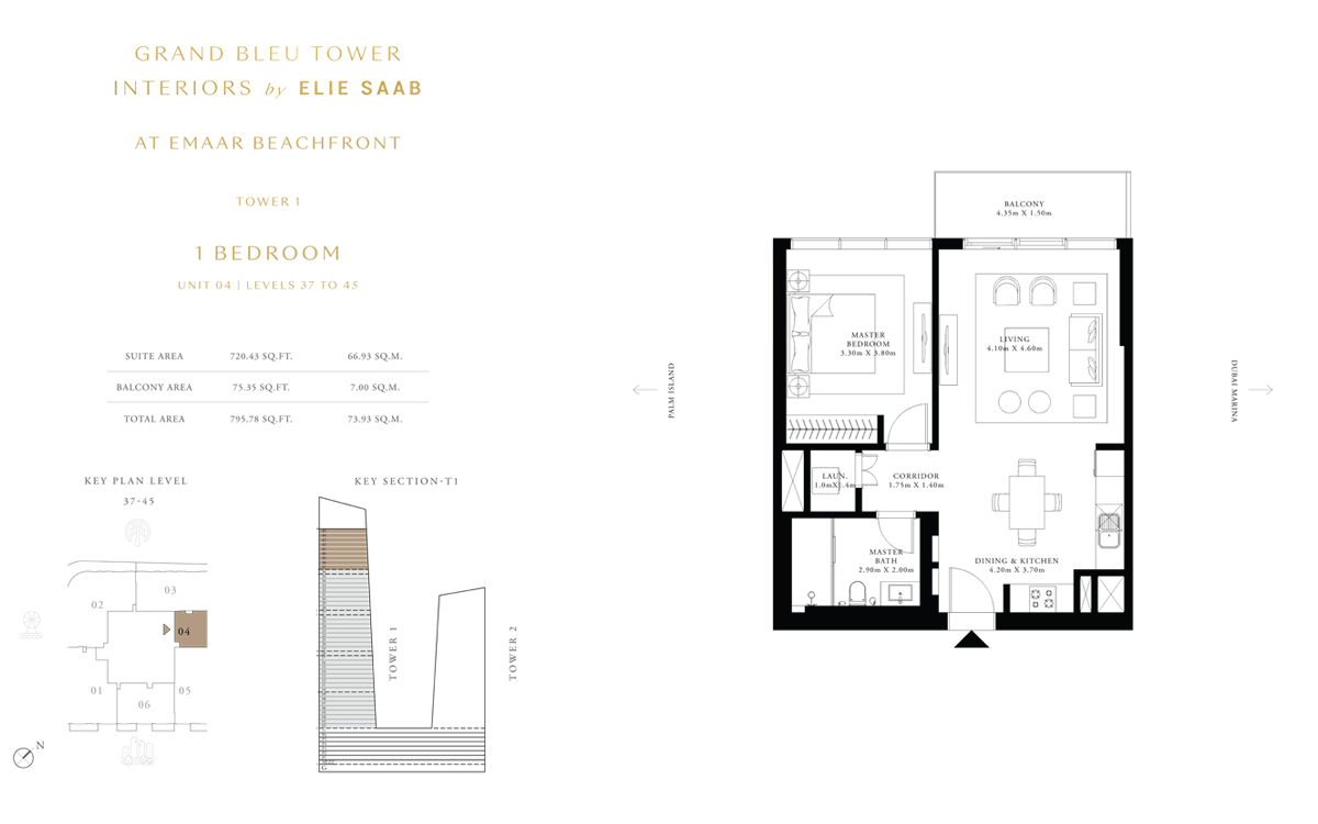 1 Bedroom Unit 4, Level 37 to 45, Size 795 Sq Ft