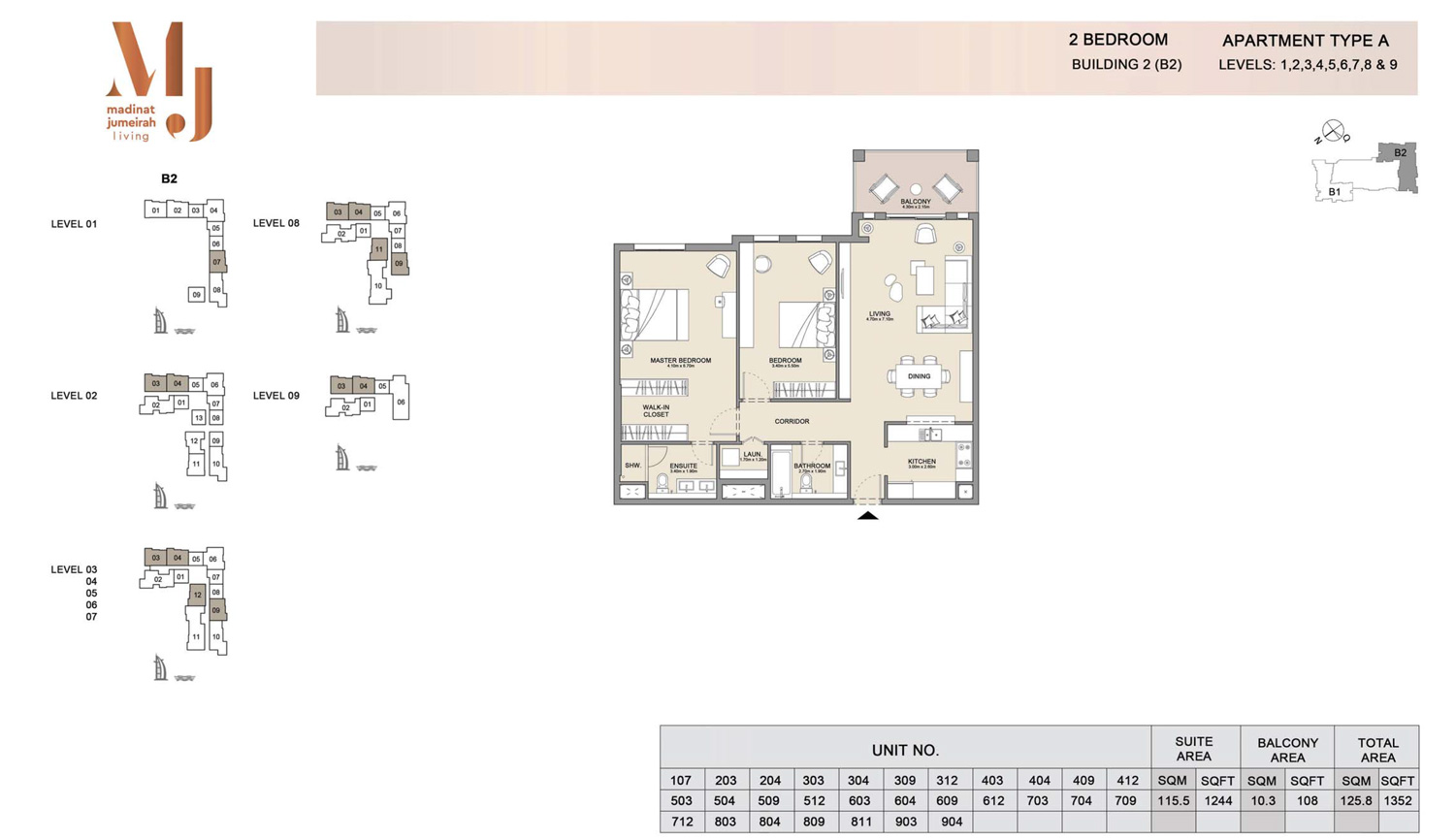 2 Bedroom B 2, Type A, Levels 1 to 9, Size 1352 sq.ft