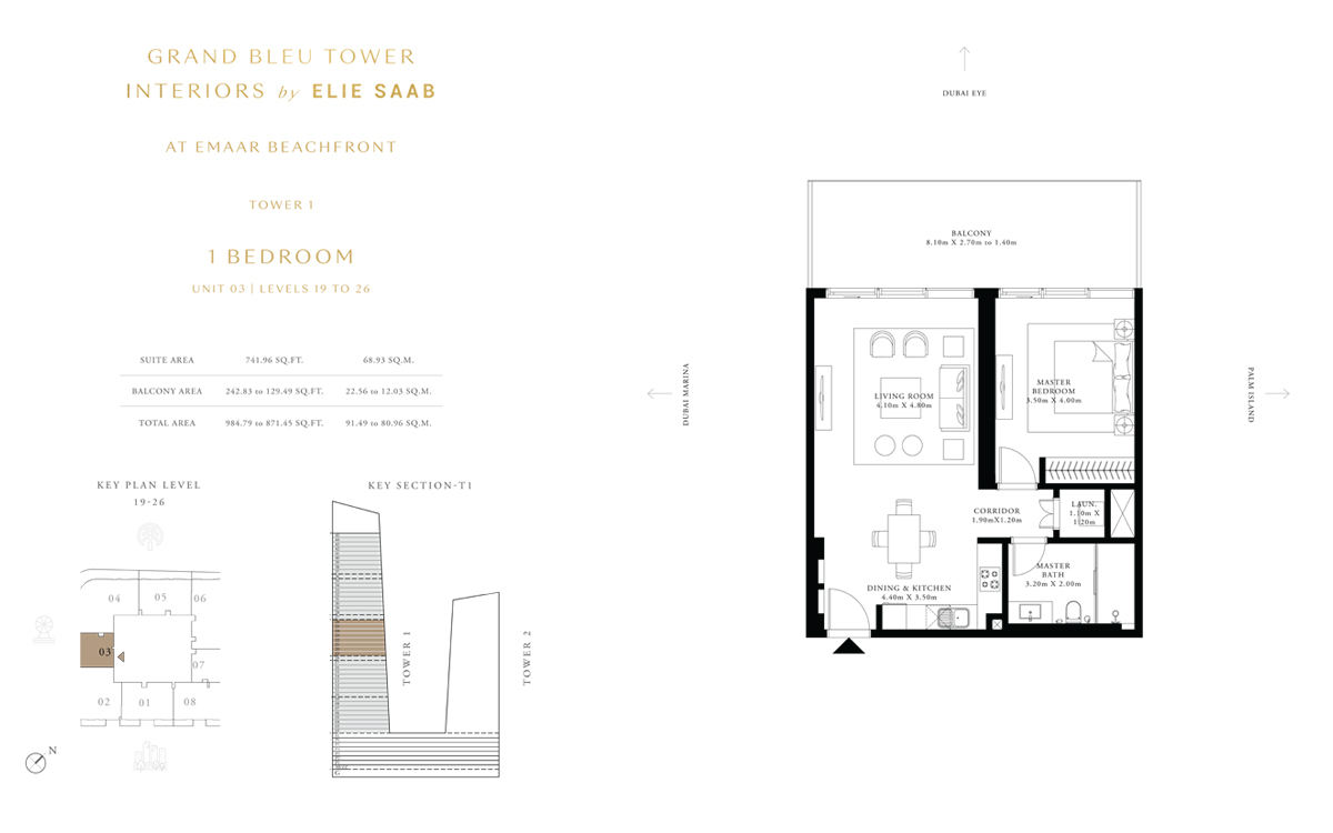 1 Bedroom Unit 3, Level 19 to 26, Size 984 Sq Ft