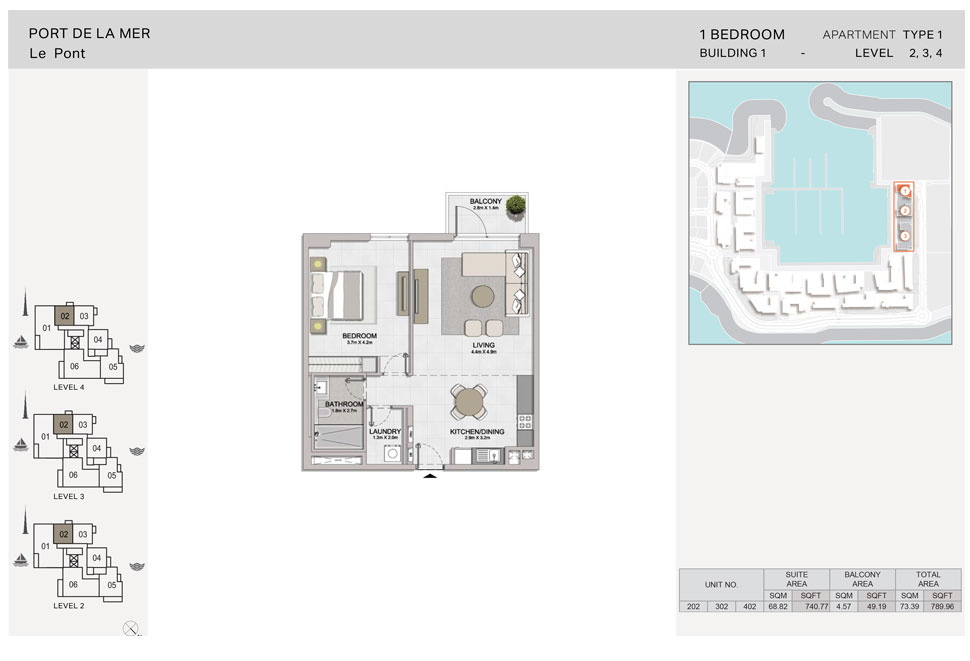 1-BR, Type-1, Level-2-to-4, Size-789.96 sq.ft