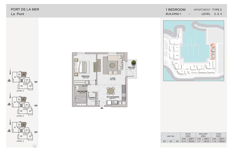 1-BR, Type-2, Level-2-to-4, Size-789.64 sq.ft