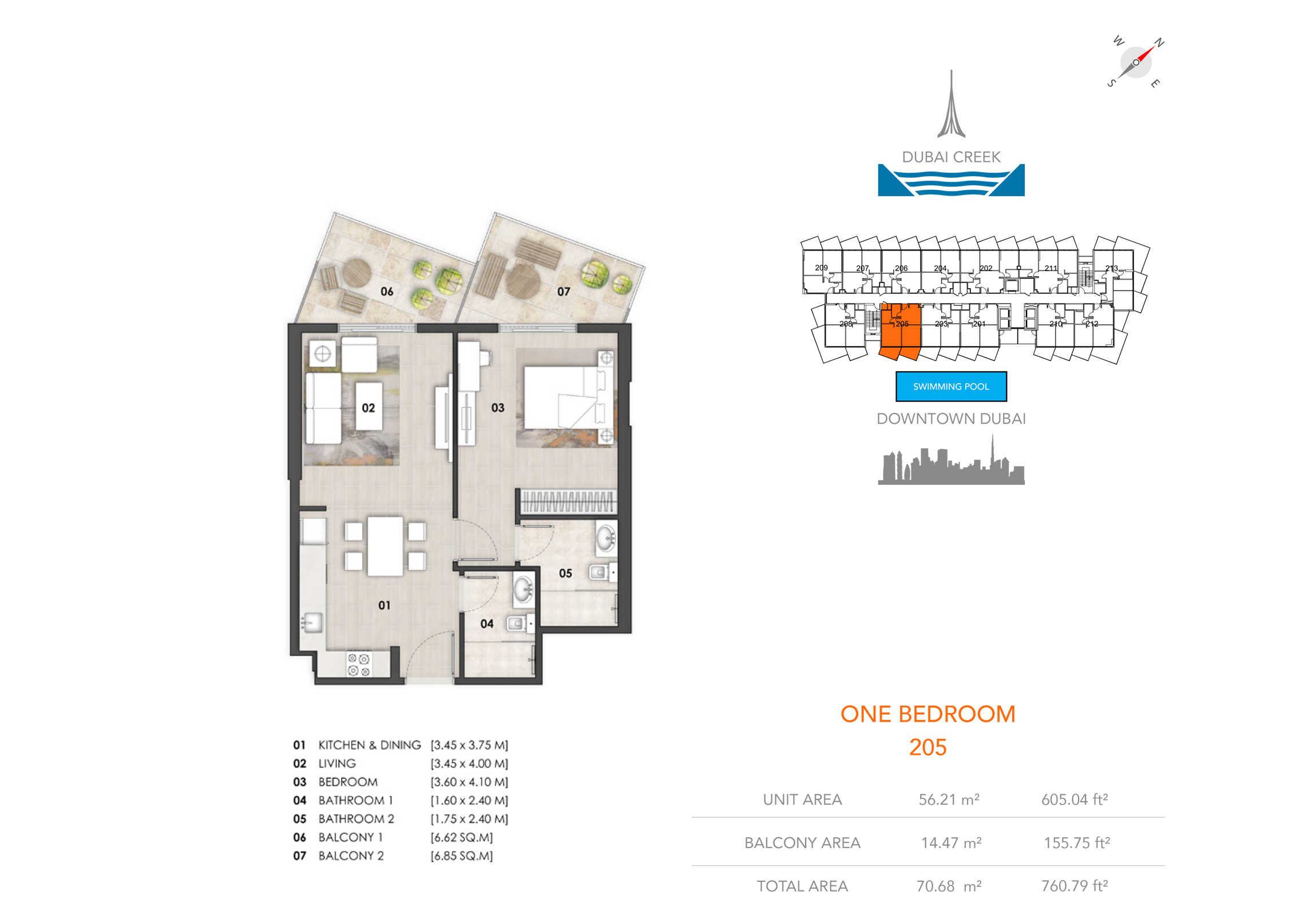 1 Bedroom 205, Size 760.79 sq.ft