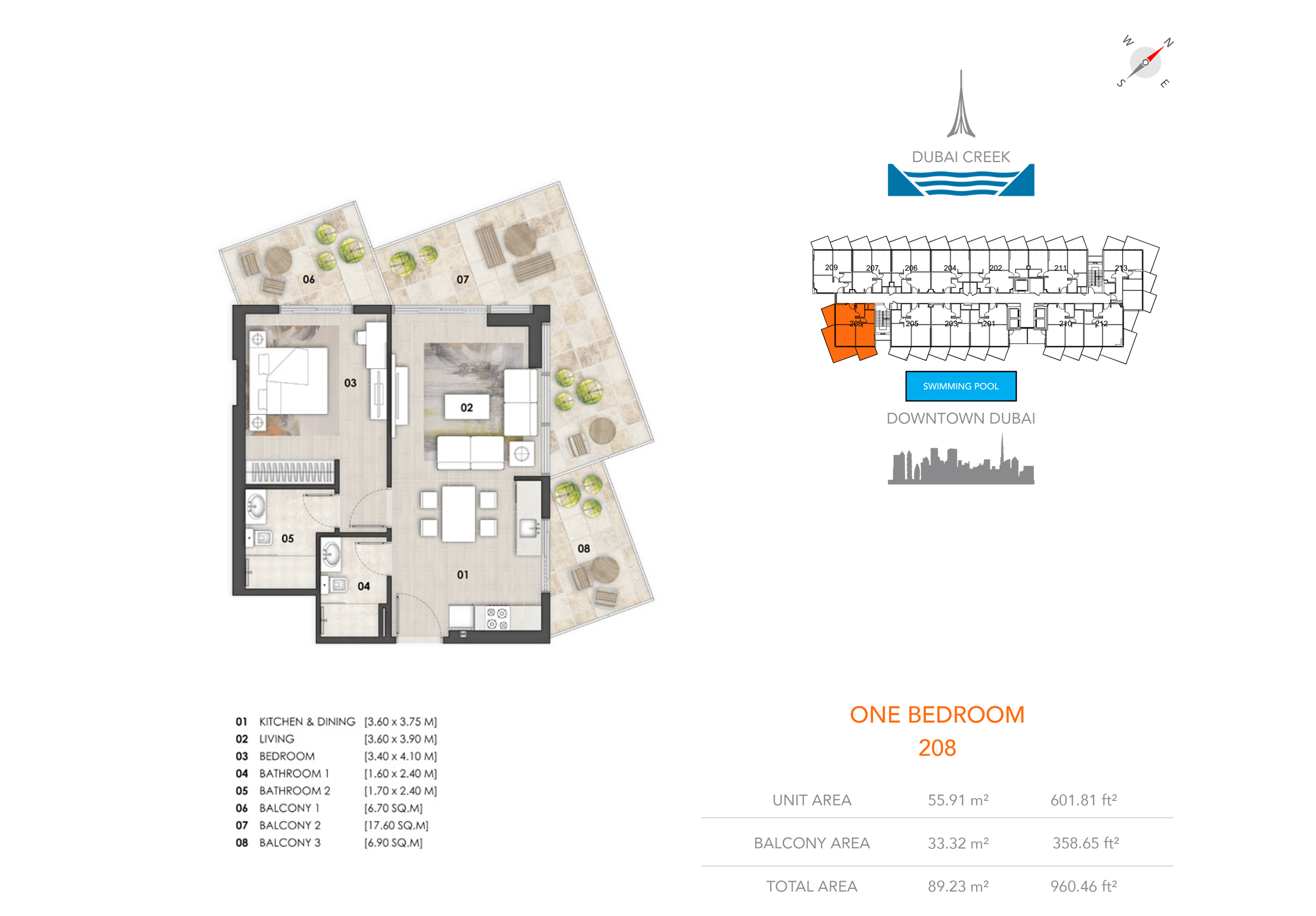 1 Bedroom 808, Size 960.46 sq.ft