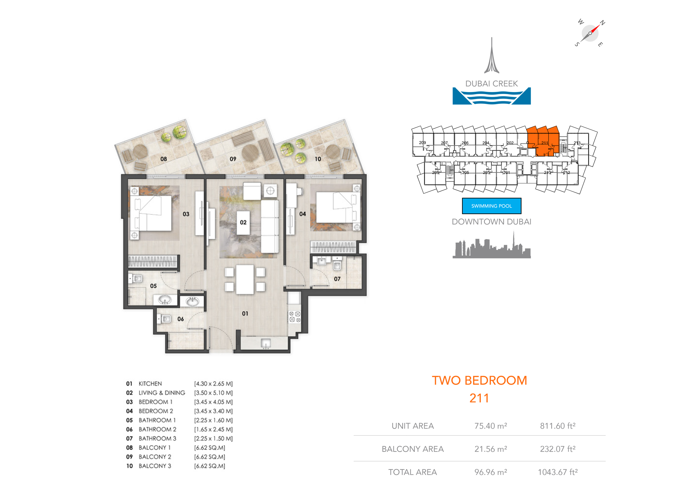 2 Bedroom 211, Size 1043.67 sq.ft