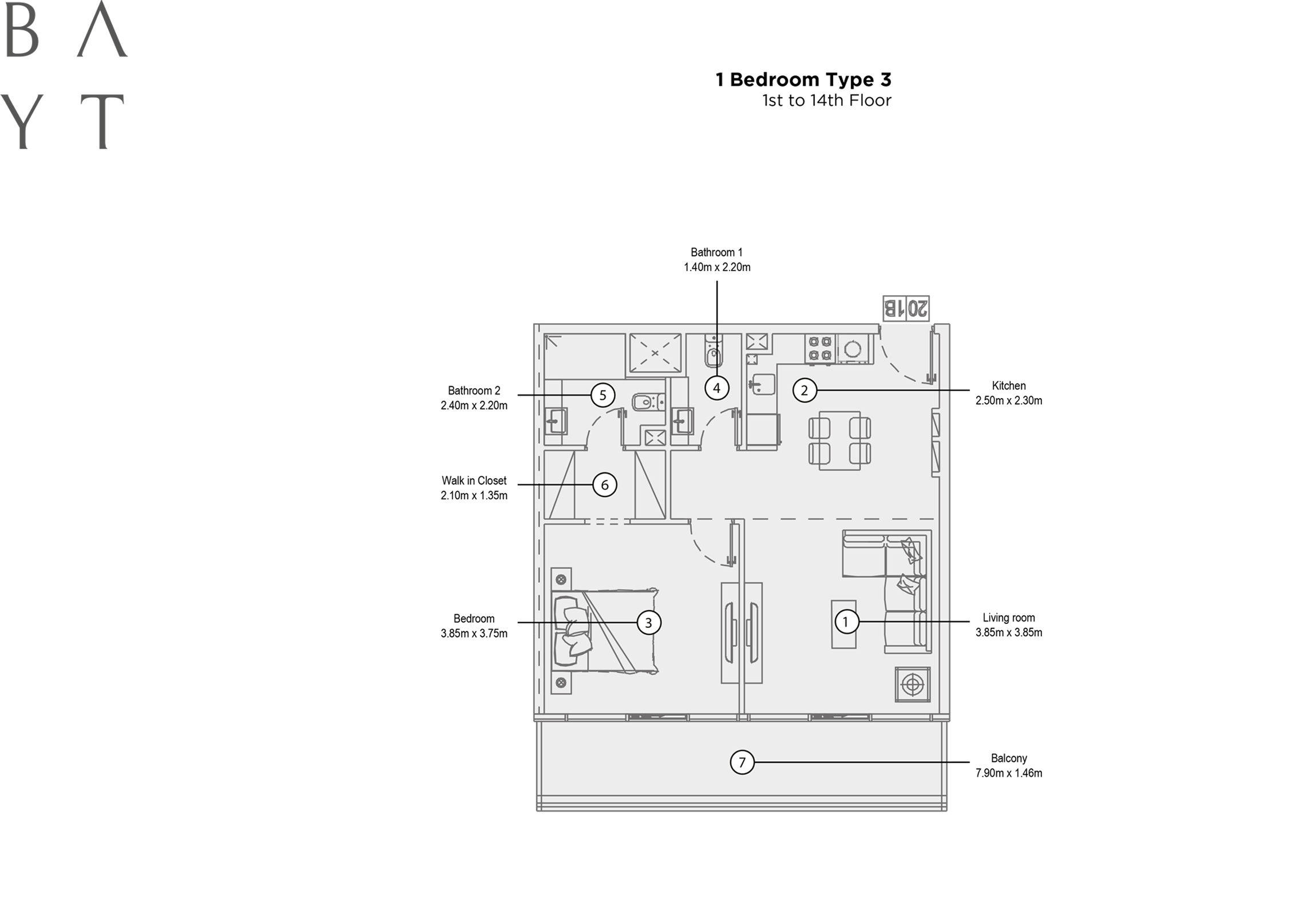 1 Bedroom Type 3, 1st to 14th Floor
