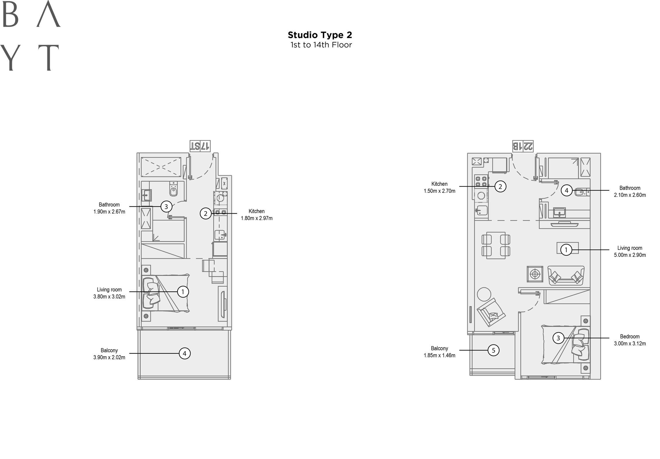 Studio Type 2, 1st to 14th Floor