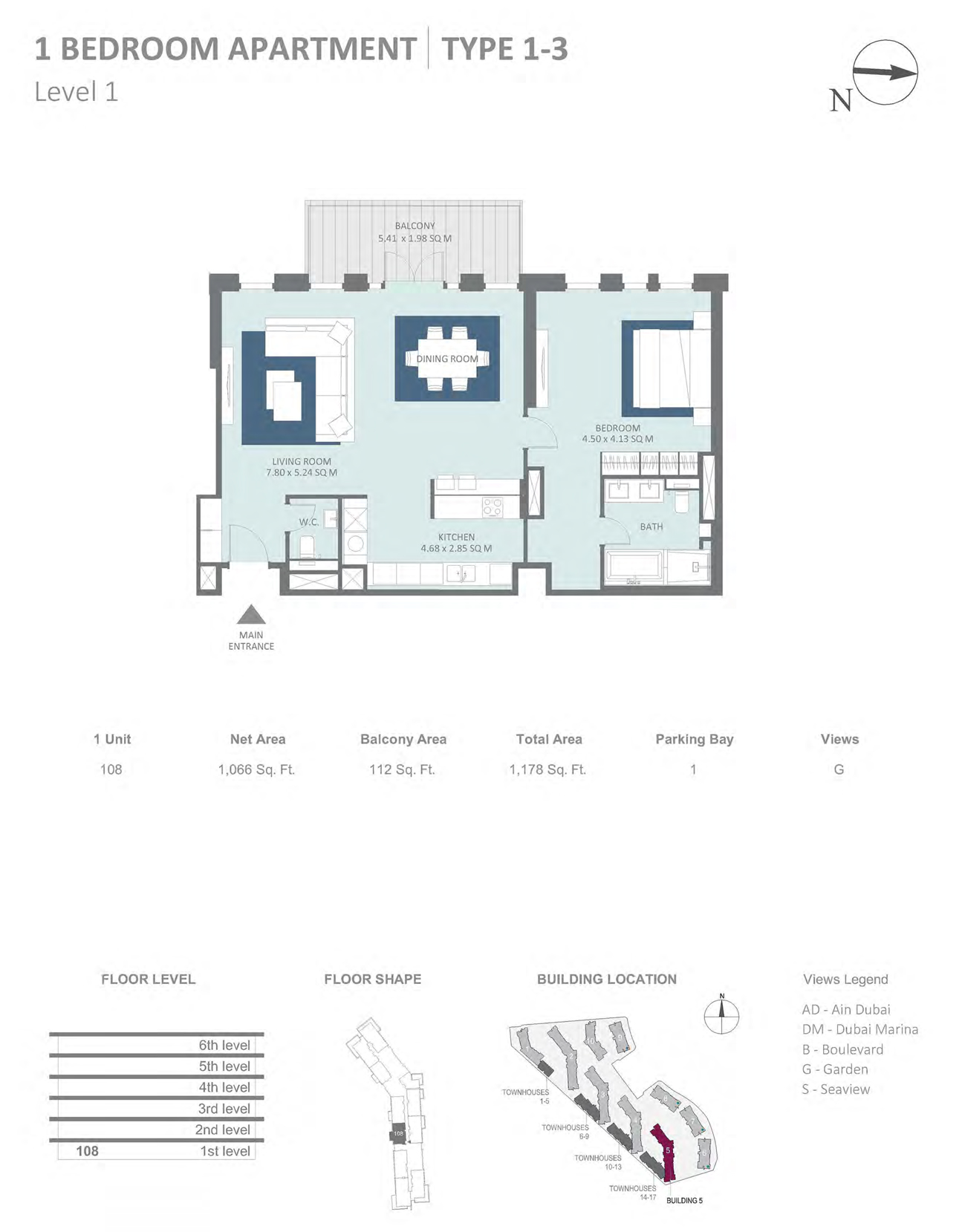 Building 5 - 1 Bedroom Type 1 - 3 Level 1 , Size 1066 sq ft