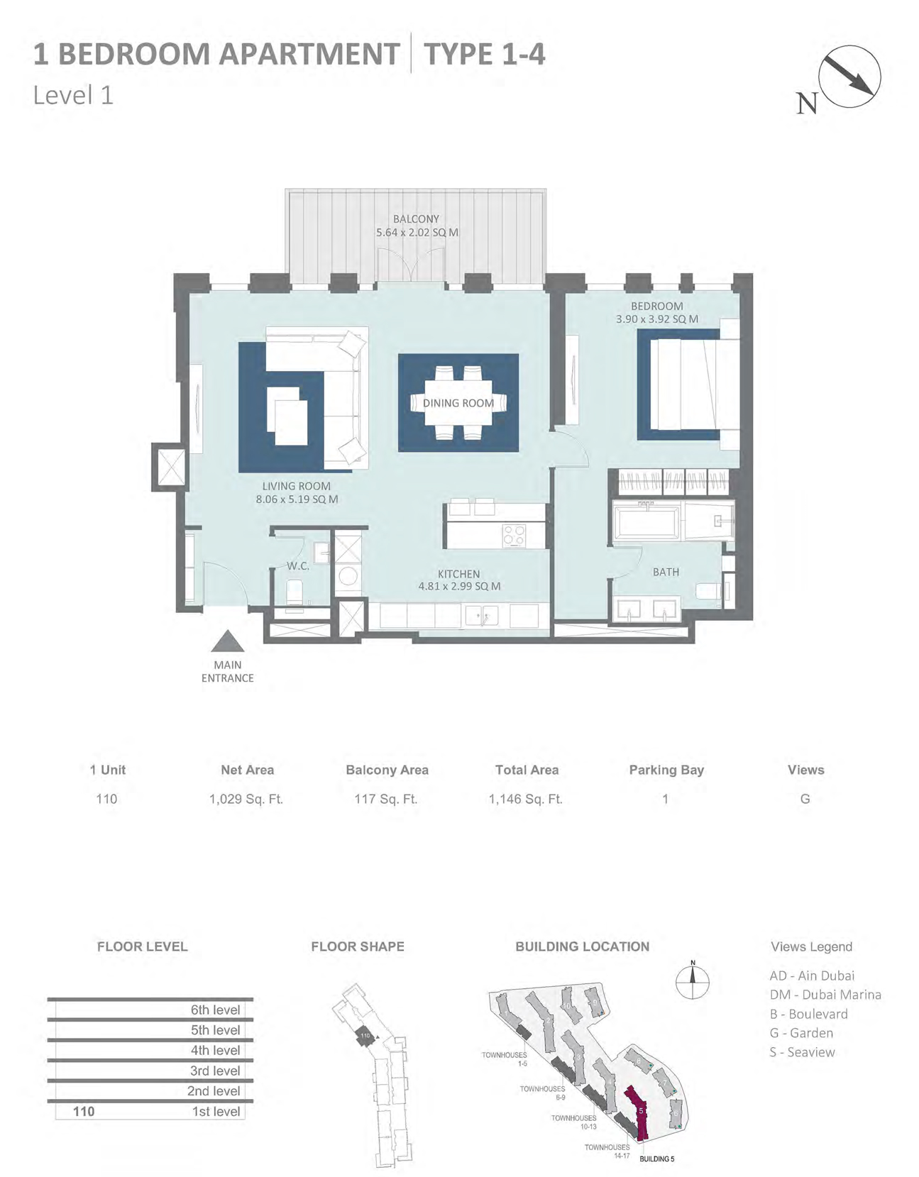 Building 5 - 1 Bedroom Type 1-4 Level 1 , Size 1029 sq ft