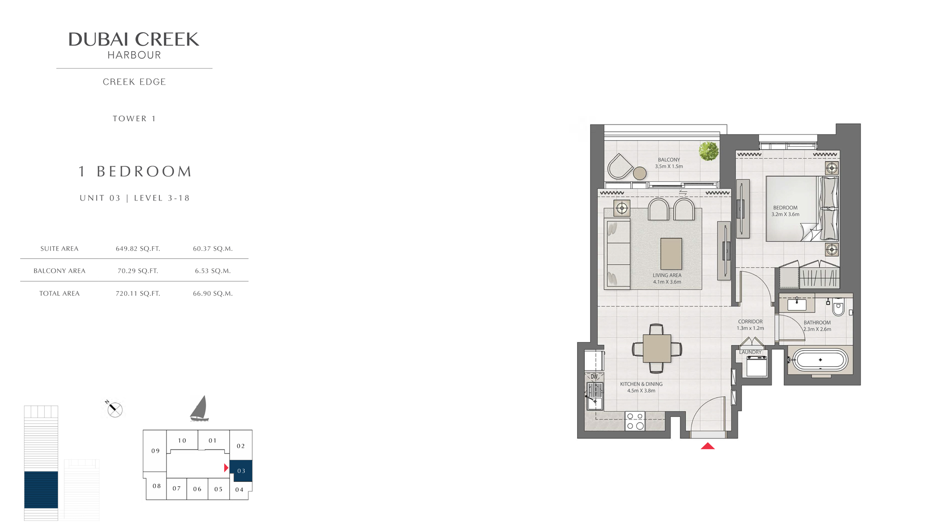 1  Bedroom Tower 1 Unit 03 Level 3 -18 Size 720 sq.ft