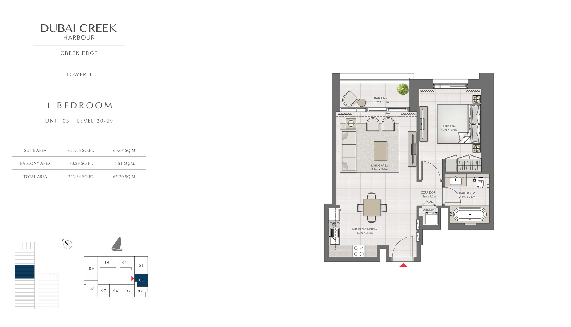 1 Bedroom Tower 1 Unit 03 Level 20-29  Size 723 sq.ft