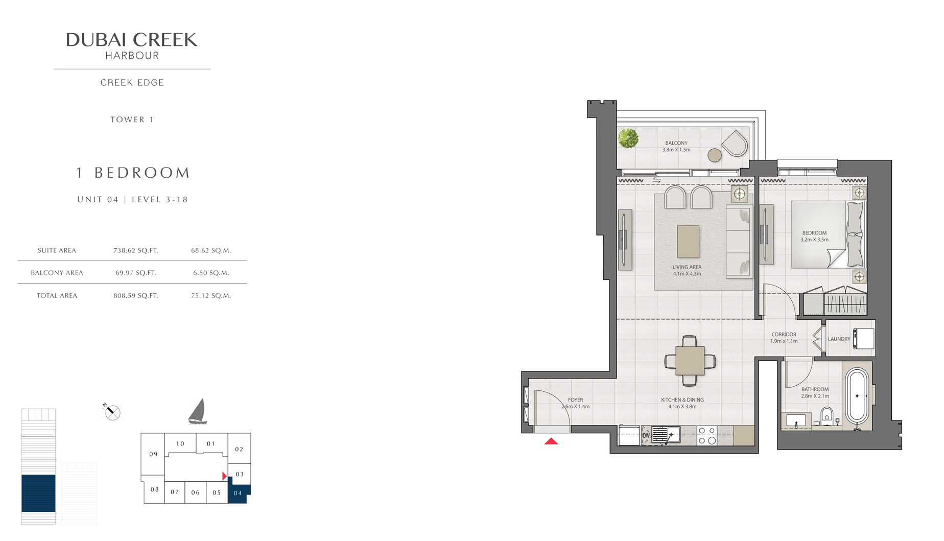 1 Bedroom Tower 1 Unit 04 Level 3 -18 Size 808 sq.ft