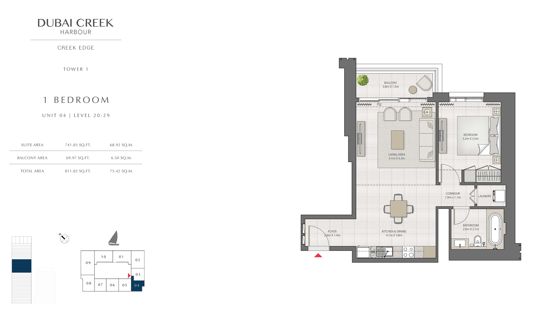1 Bedroom Tower 1 Unit 04 Level 20-29  Size 811 sq.ft