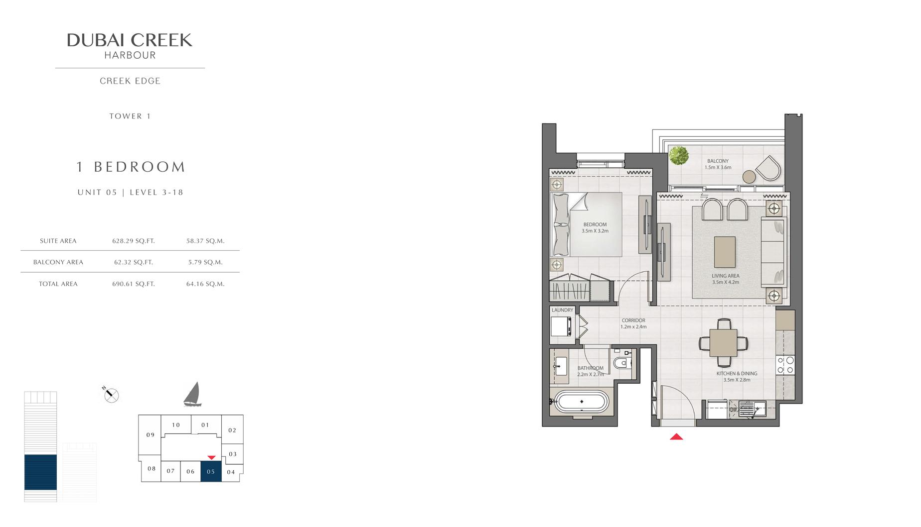 1 Bedroom Tower 1 Unit 05 Level 3-18  Size 690 sq.ft