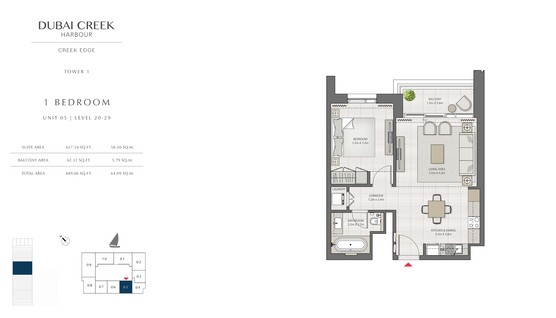 1 Bedroom Tower 1 Unit 05 Level 20-29  Size 689 sq.ft