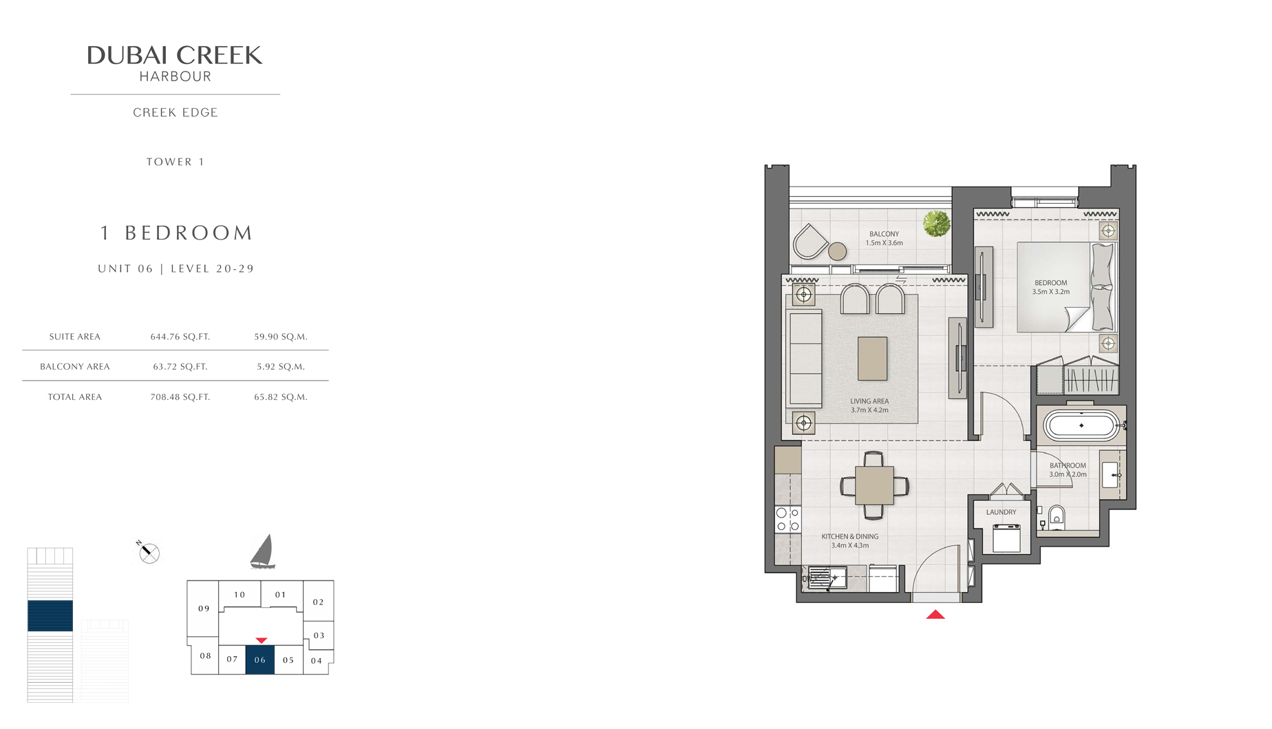 1 Bedroom Tower 1 Unit 06 Level 20-29  Size 708 sq.ft