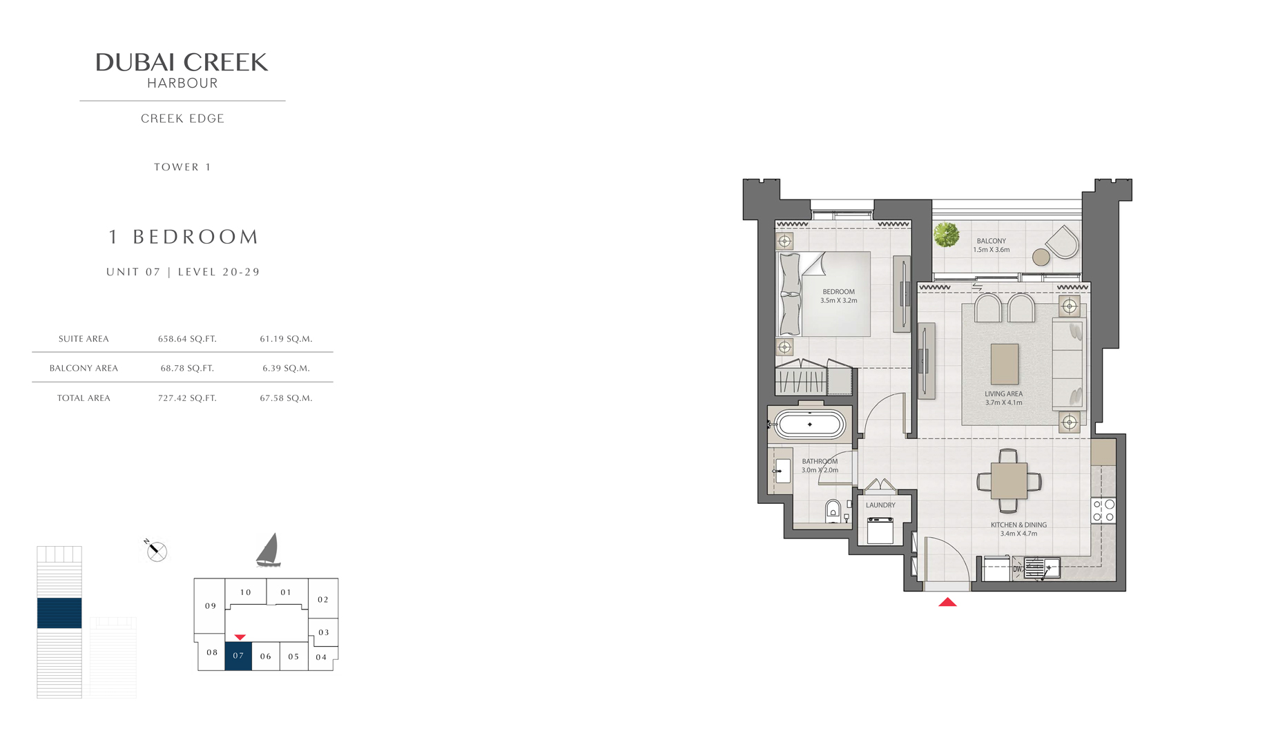 1 Bedroom Tower 1 Unit 07 Level 20-29  Size 727 sq.ft